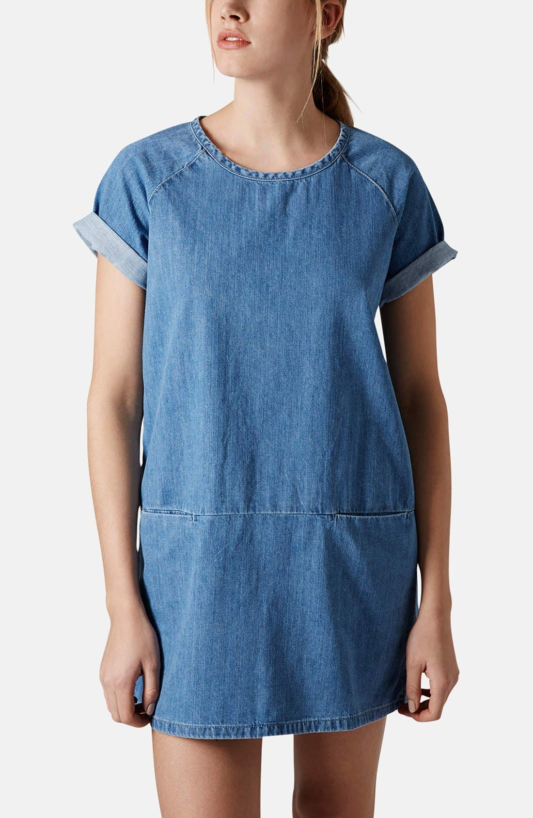 Main Image - Topshop Moto Denim T-Shirt Dress (Petite)