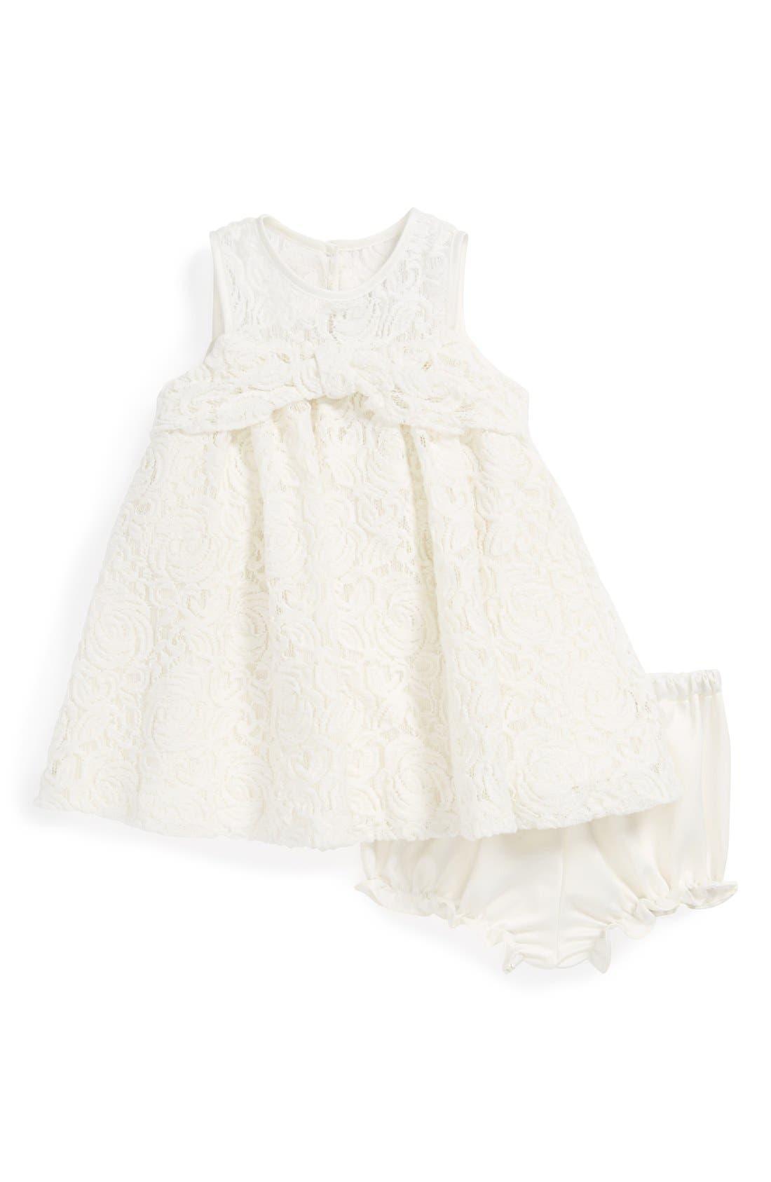 Main Image - Pippa & Julie White Lace Dress & Bloomers (Baby Girls)