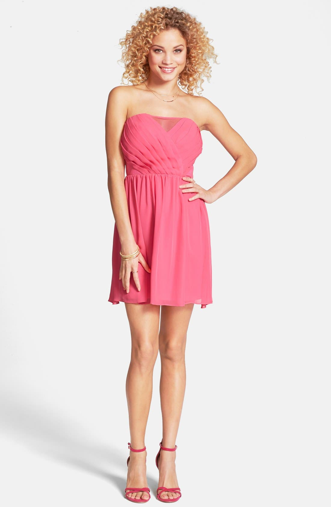 Alternate Image 1 Selected - Hailey Logan Pleat Cutout Strapless Dress (Juniors)