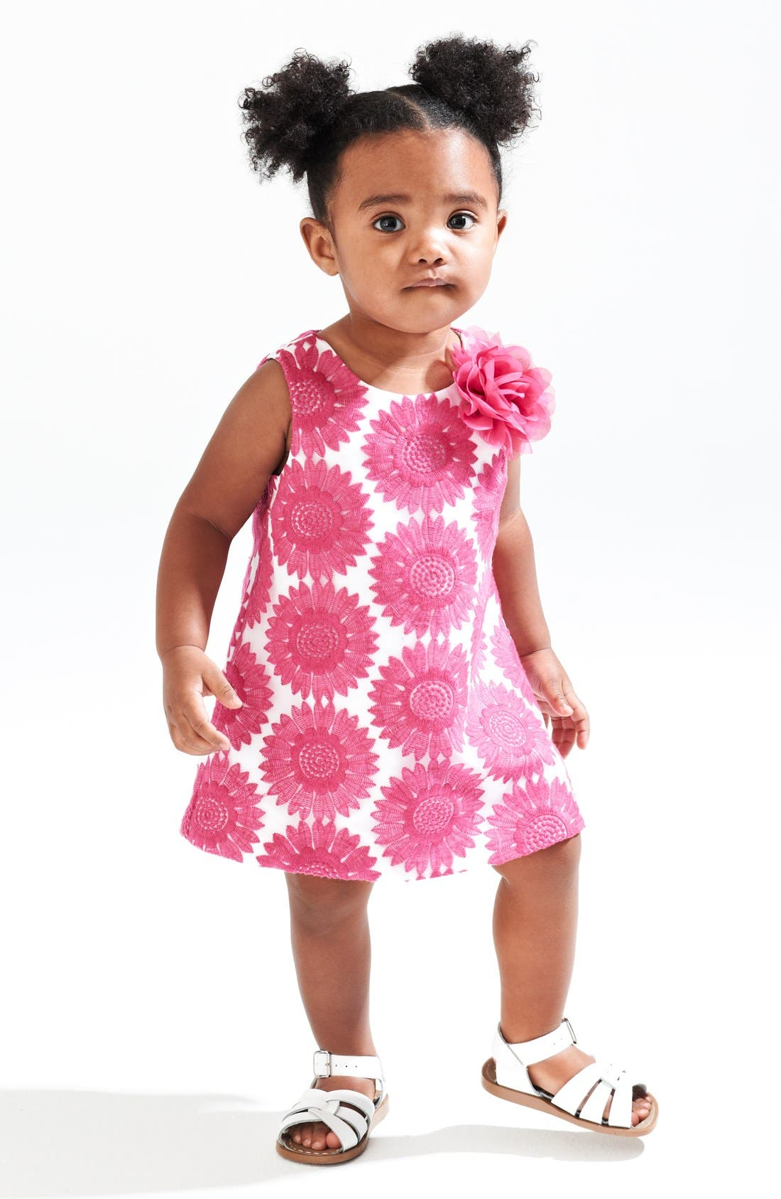 Main Image - Pippa & Julie Embroidered Sleeveless Dress & Hoy Shoe Salt-Water® Sandals (Baby Girls)