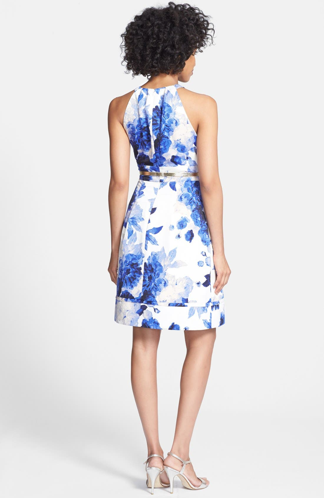 Alternate Image 3  - Eliza J Print Cutaway Bodice Faille Fit & Flare Dress