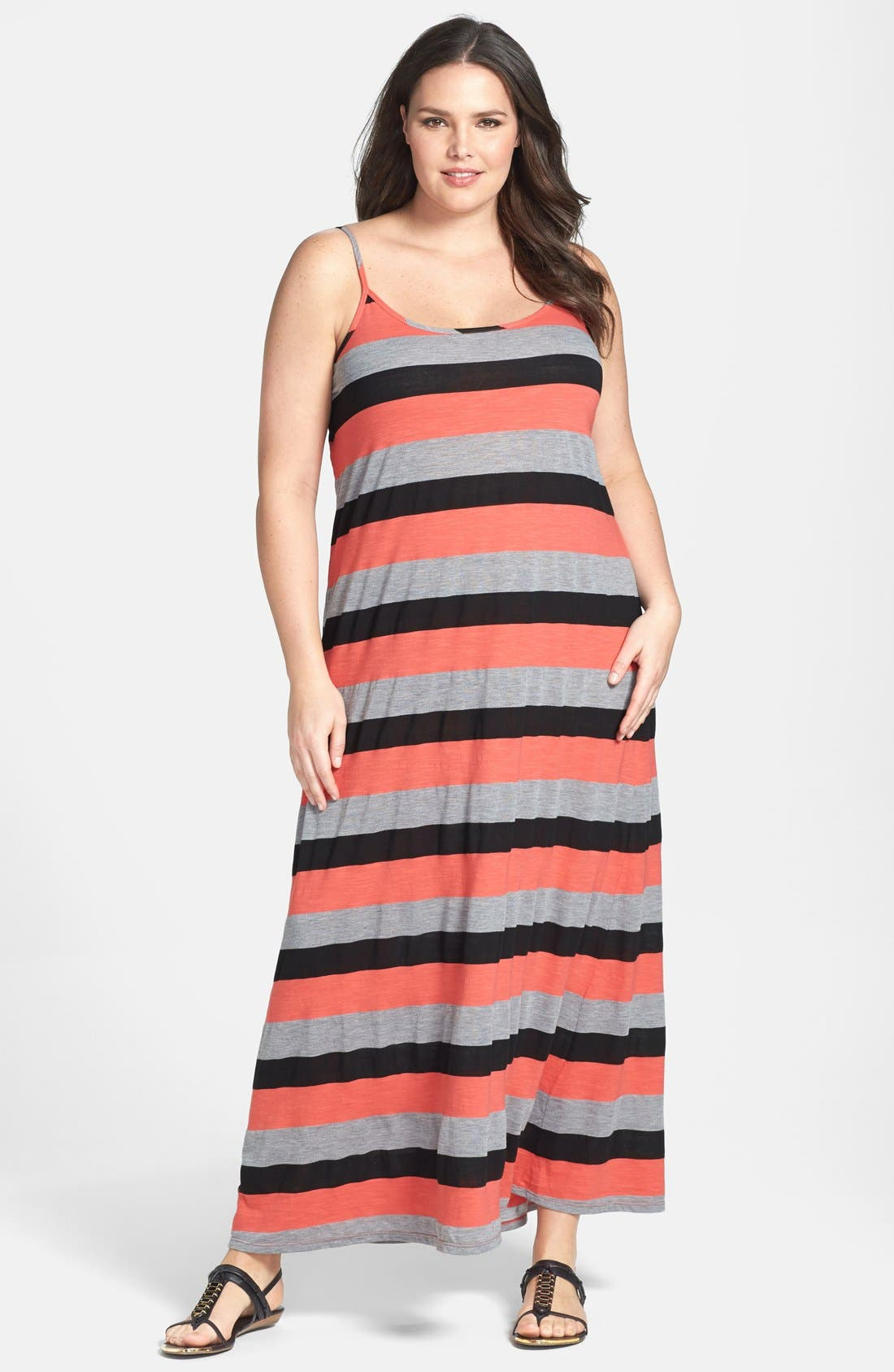 Main Image - Allen Allen Stripe Tank Maxi Dress (Plus Size)