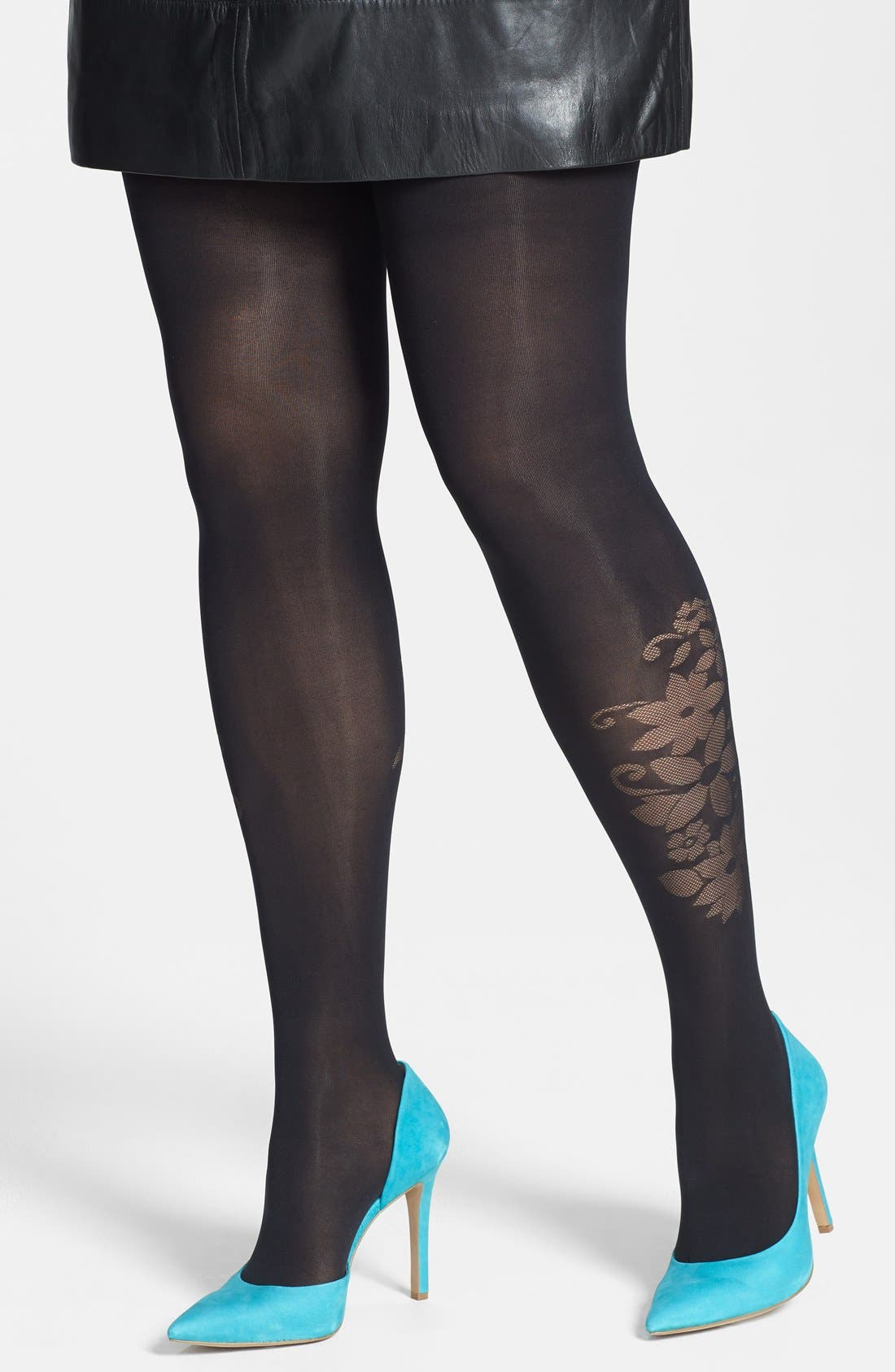Alternate Image 1 Selected - Pretty Polly 'Curves - Flower' Tights (Plus Size)