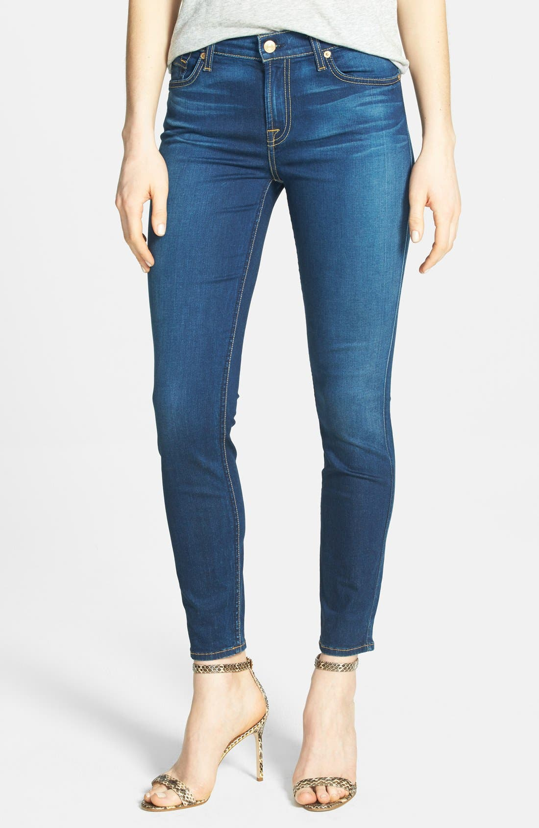Main Image - 7 For All Mankind® Mid Rise Crop Skinny Jeans (Bright Blue Sateen)