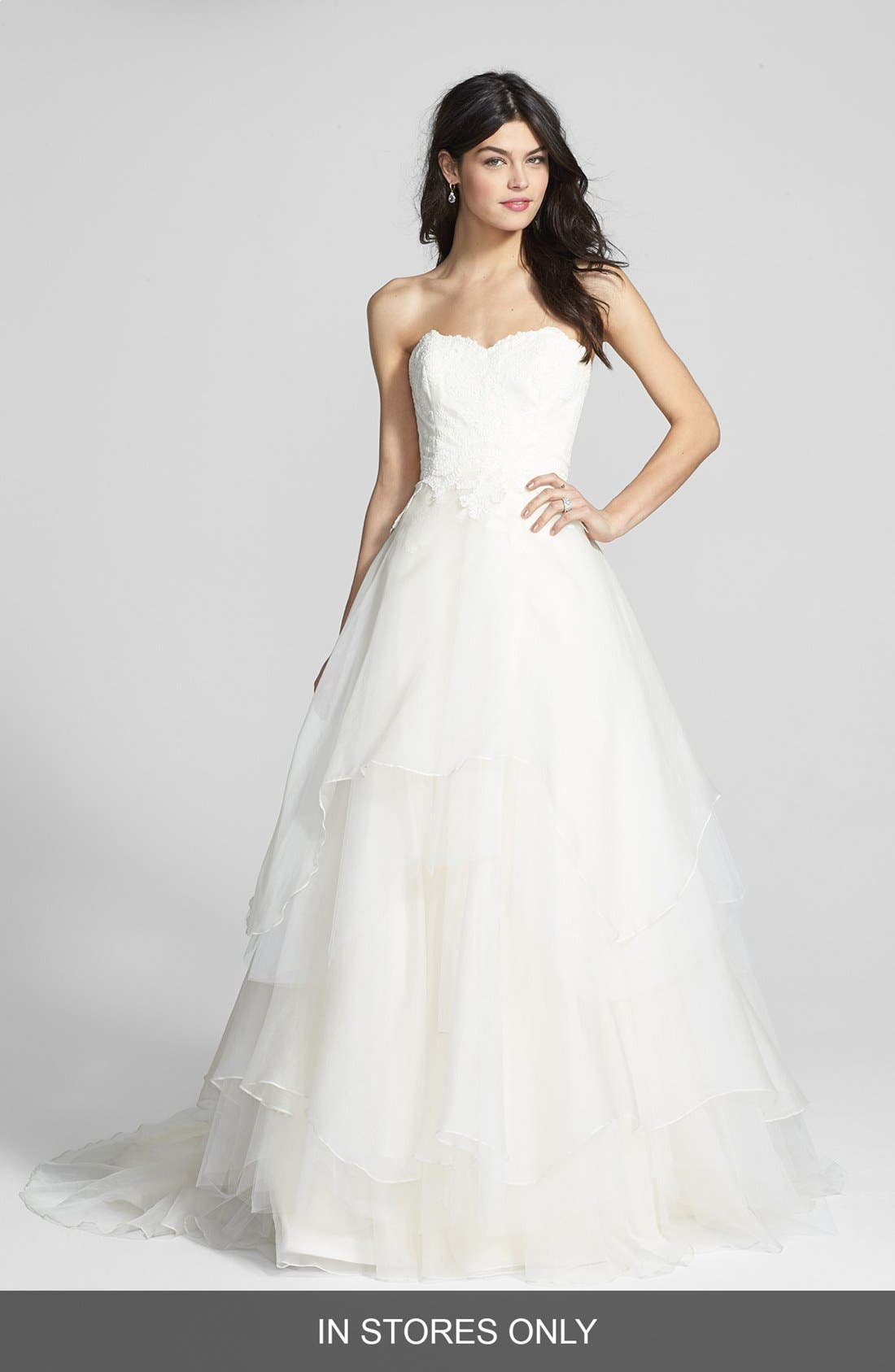 Alternate Image 1 Selected - Hayley Paige 'Mila' Strapless Silk Organza Wedding Dress (In Stores Only)