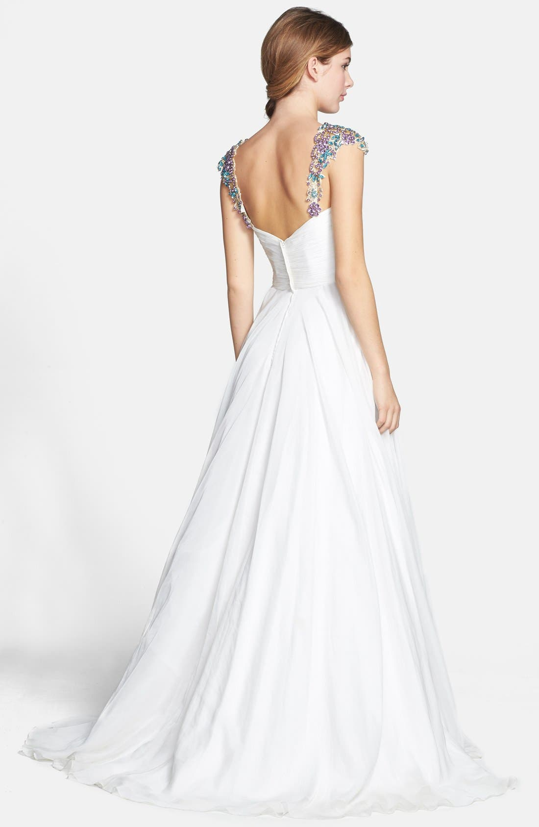 Alternate Image 2  - Sherri Hill Embellished Cap Sleeve Chiffon Gown