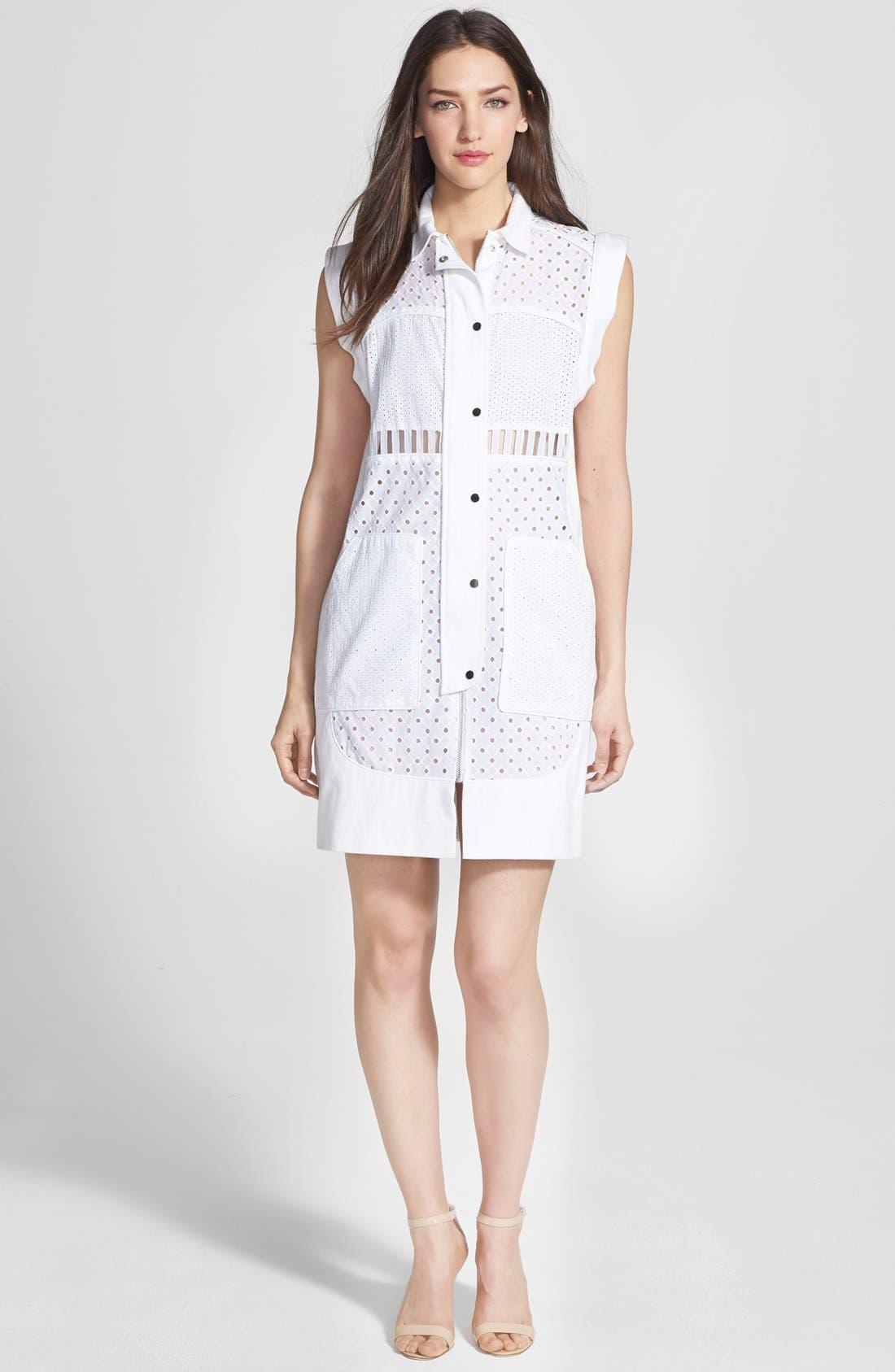 Alternate Image 1 Selected - Rebecca Taylor Sleeveless Cotton Eyelet Shirtdress