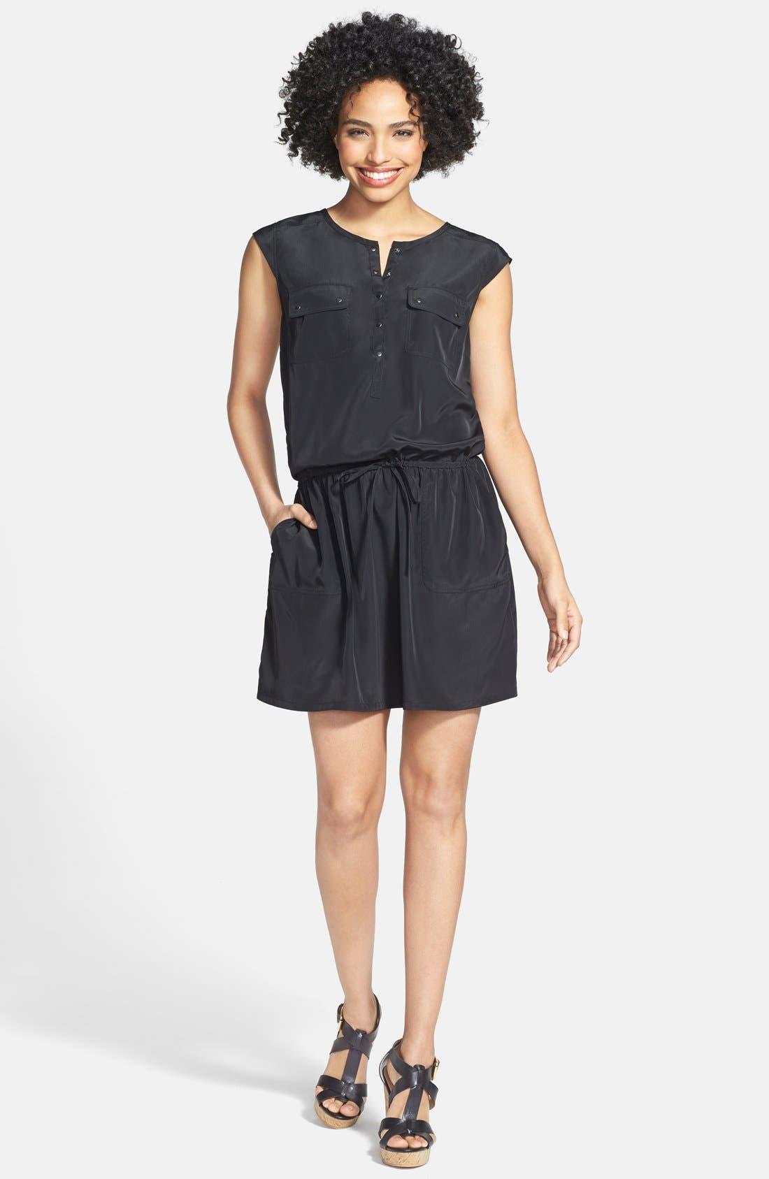 Alternate Image 1 Selected - Caslon® Print Drawstring Waist Dress (Regular & Petite)