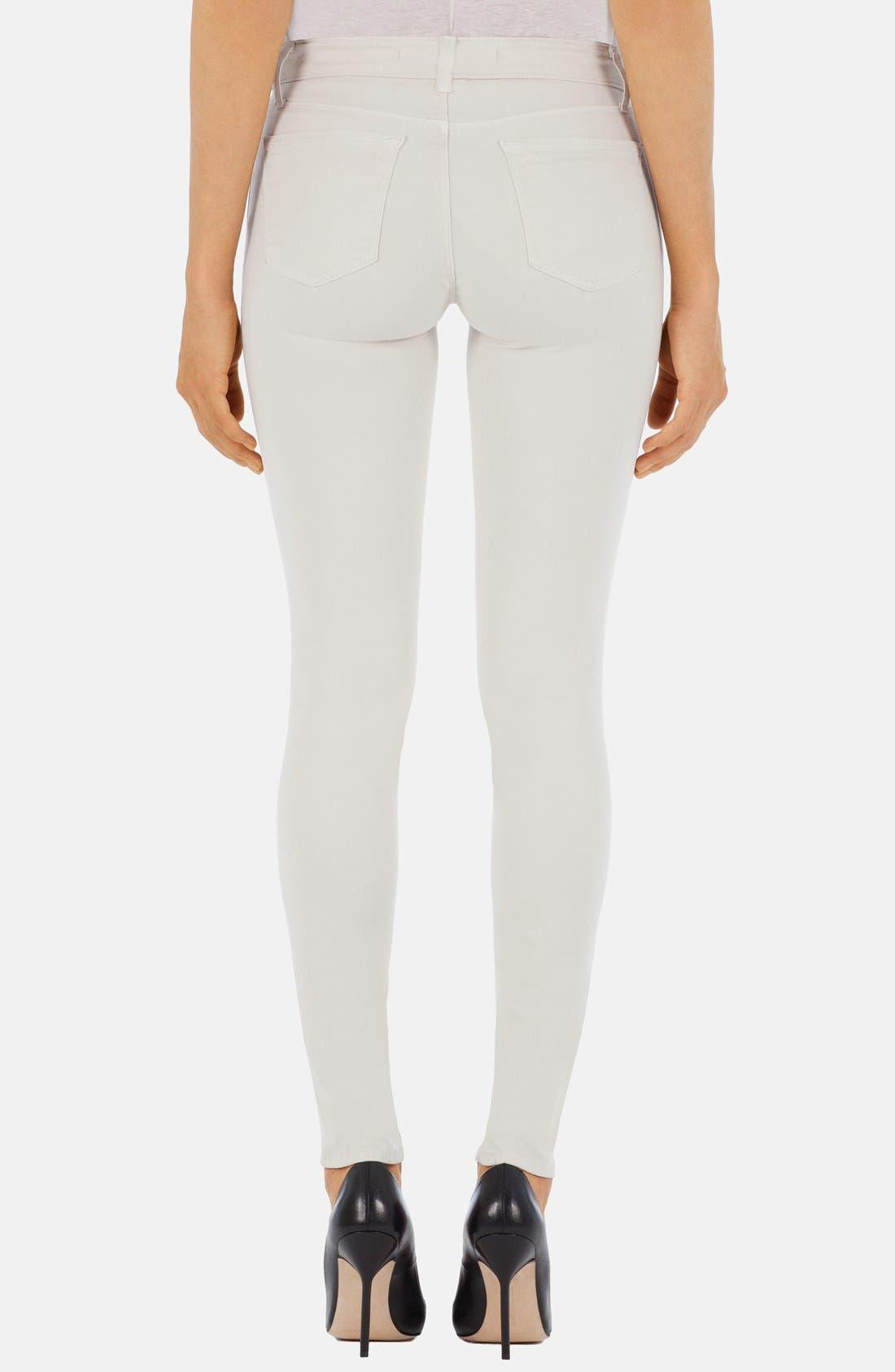 Alternate Image 2  - J Brand '485' Mid Rise Super Skinny Jeans (Chalk)