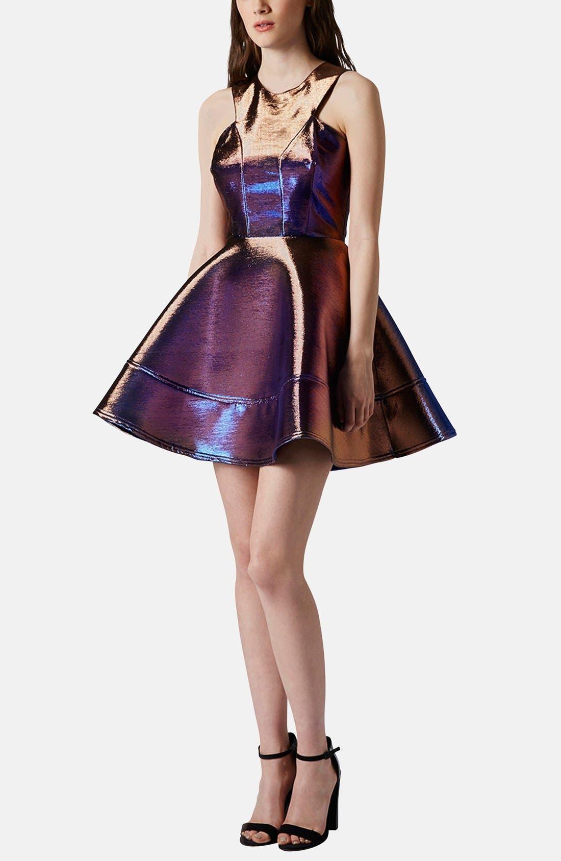 Main Image - Topshop Metallic Skater Dress