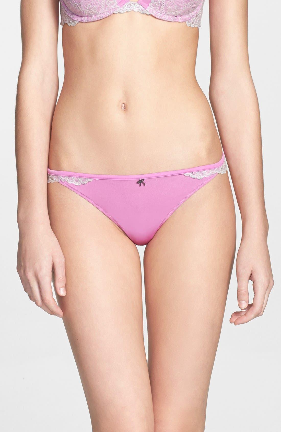 Main Image - Black Bow Lace Trim Thong
