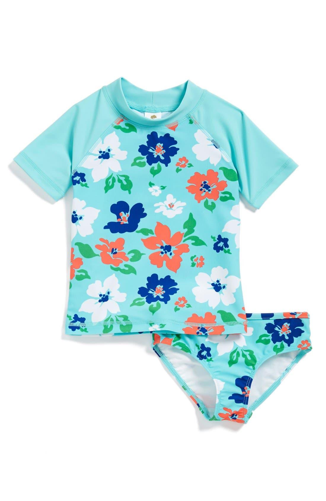 Alternate Image 1 Selected - Tucker + Tate 'Montauk' Rashguard Shirt & Bottoms (Little Girls & Big Girls)