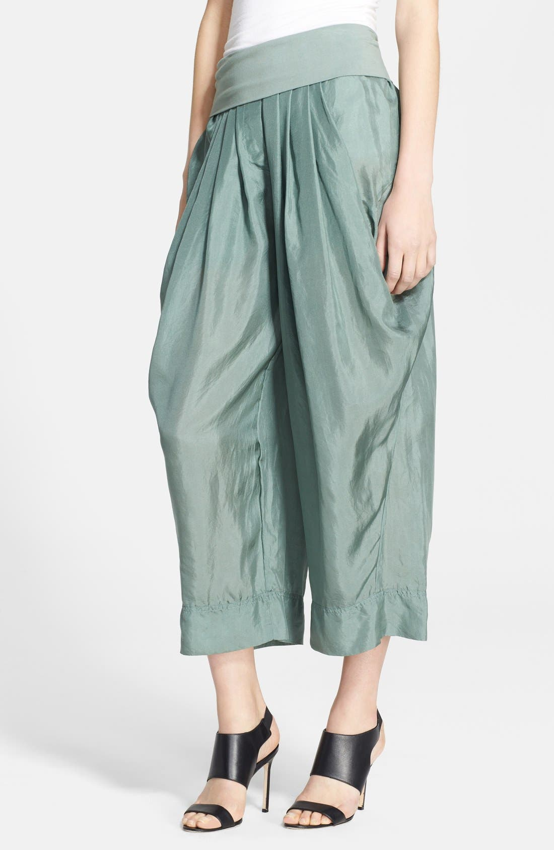 Main Image - Donna Karan Collection Silk Wide Leg Cropped Pants