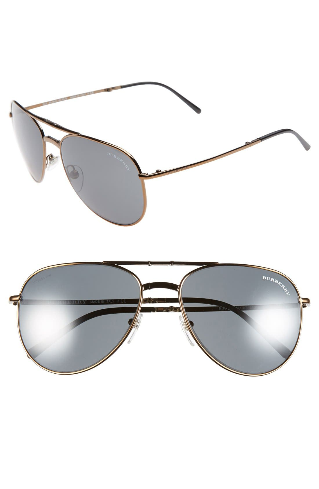 Main Image - Burberry 'Splash' 57mm Foldable Aviator Sunglasses