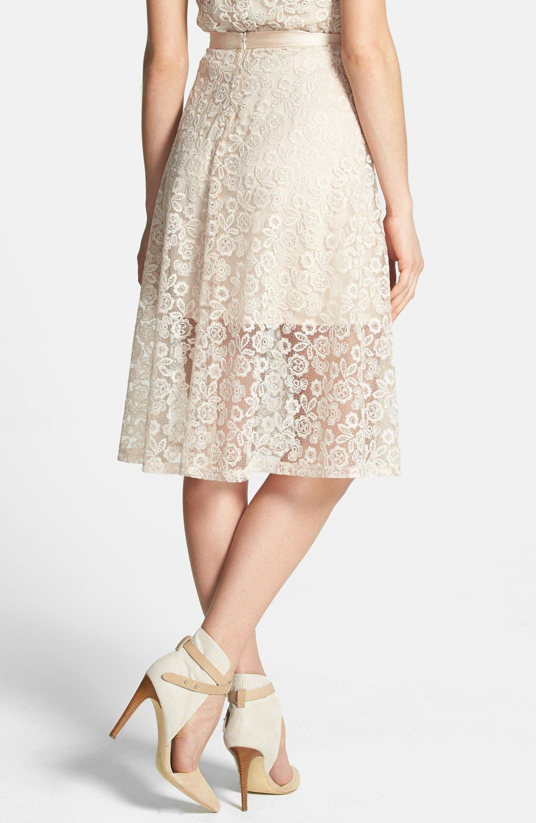 Alternate Image 2  - Wayf Embroidered Lace A-Line Skirt