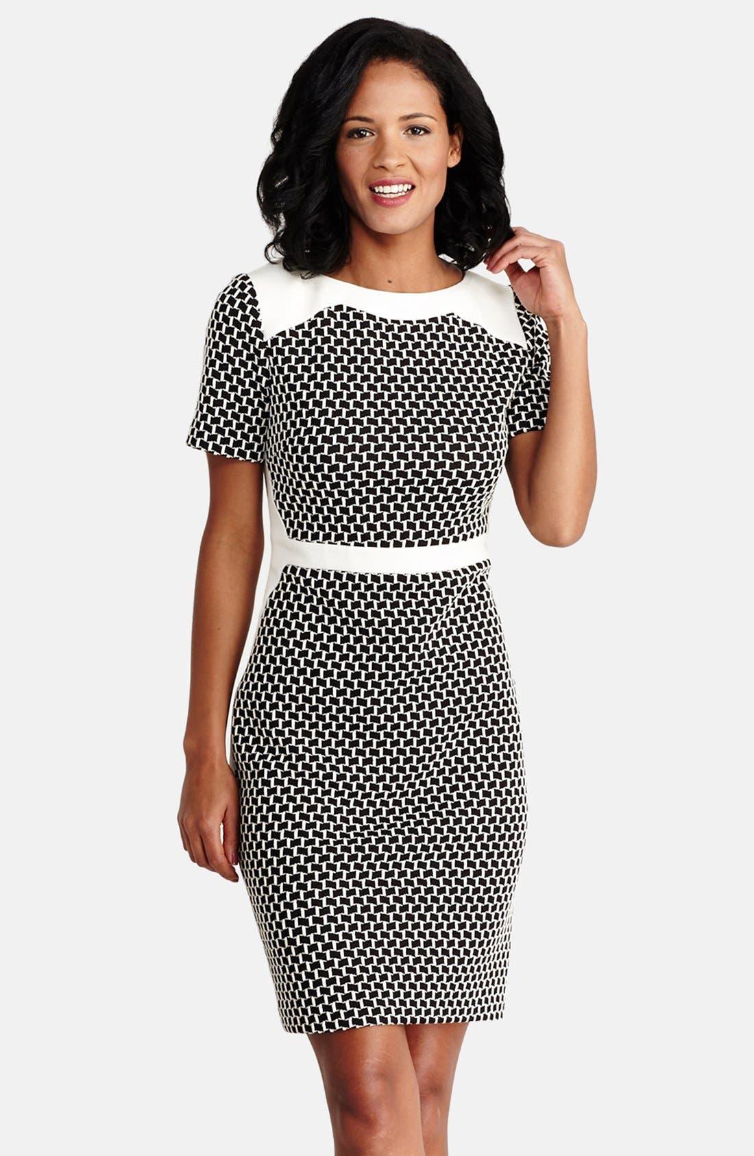 Main Image - Donna Morgan Novelty Knit Sheath Dress (Regular & Petite)