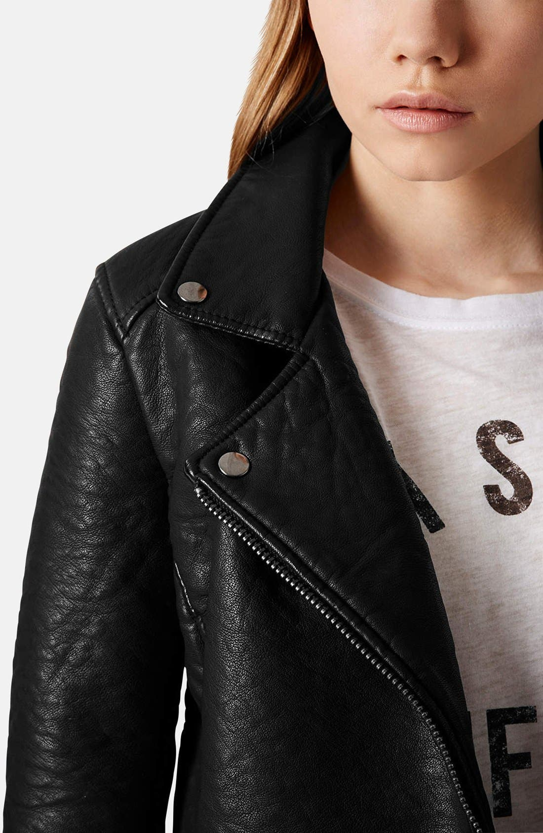 Alternate Image 4  - Topshop 'Scarlet' Faux Leather Biker Jacket