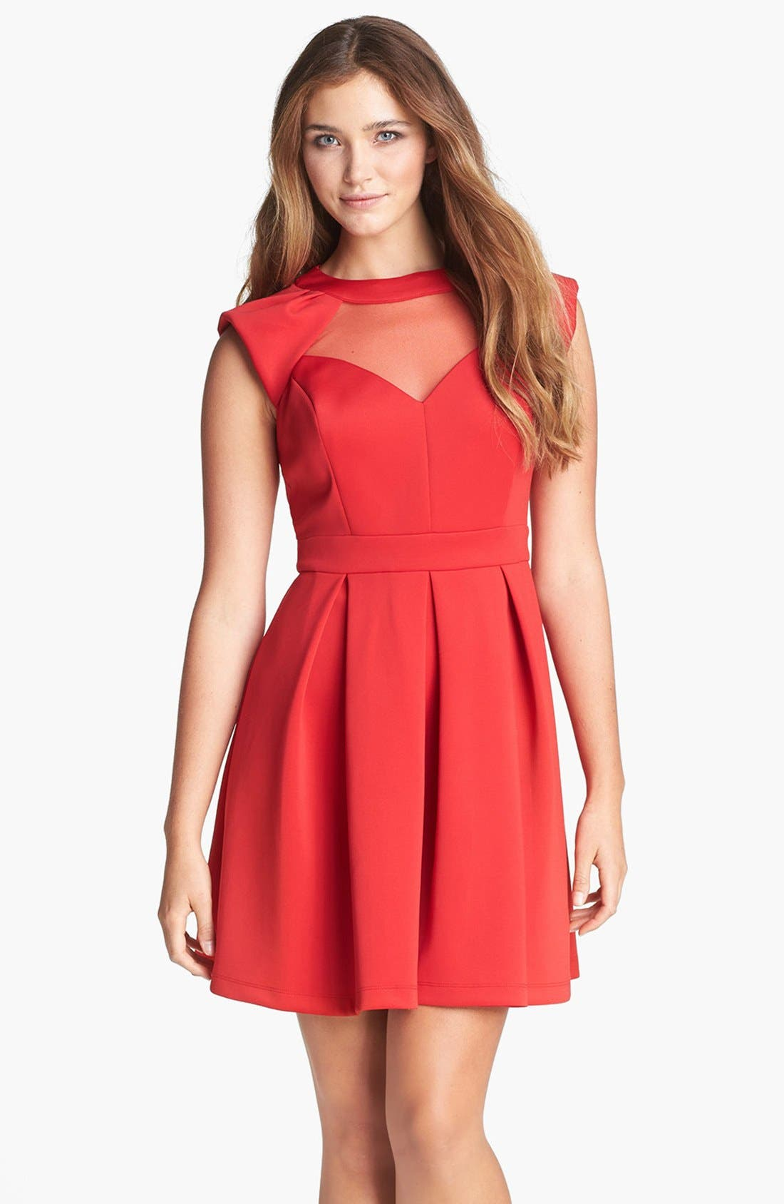 Main Image - Hailey by Adrianna Papell Illusion Cutout Fit & Flare Dress