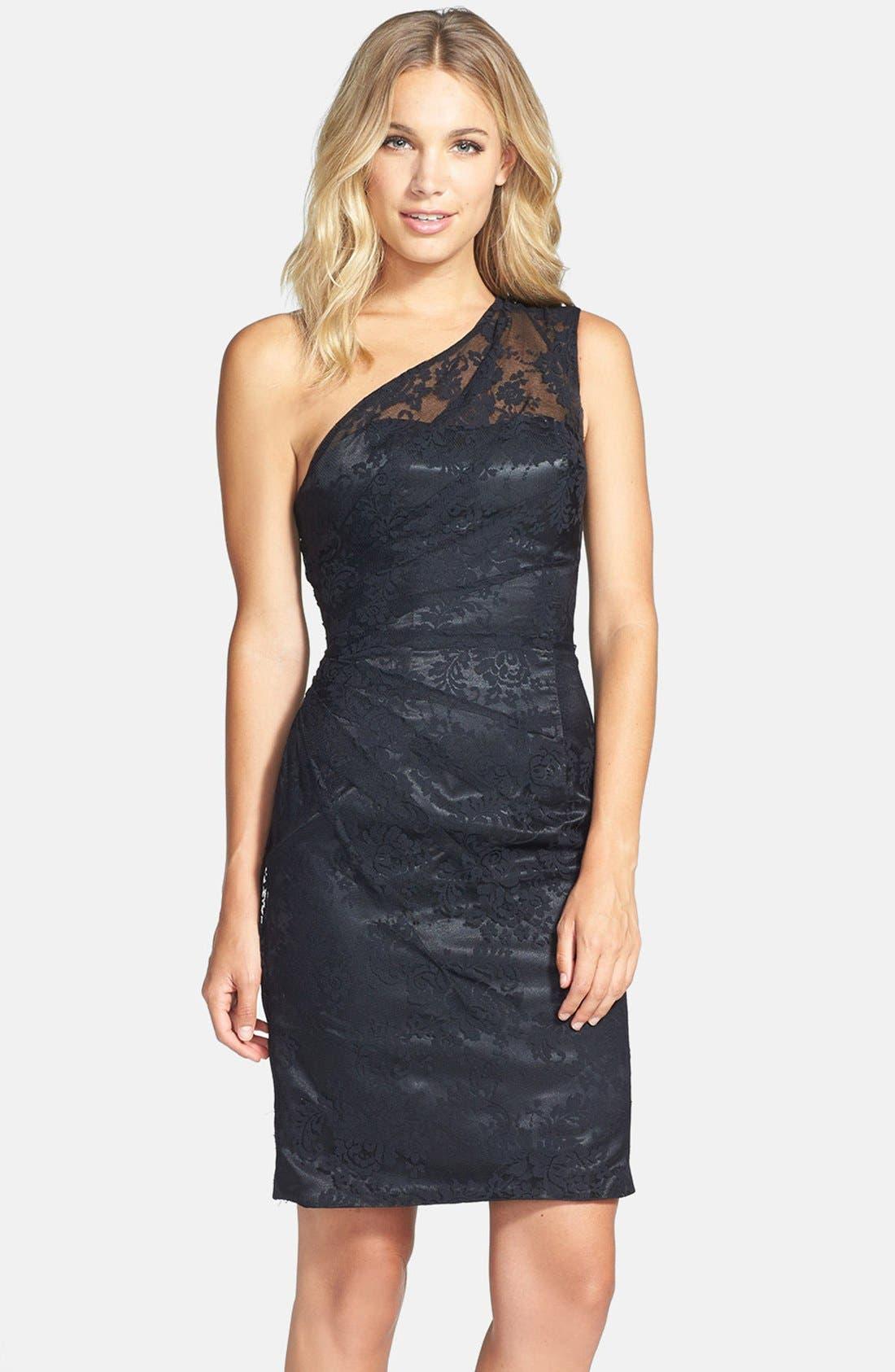 Main Image - ML Monique Lhuillier Bridesmaids Pleated One-Shoulder Lace Dress