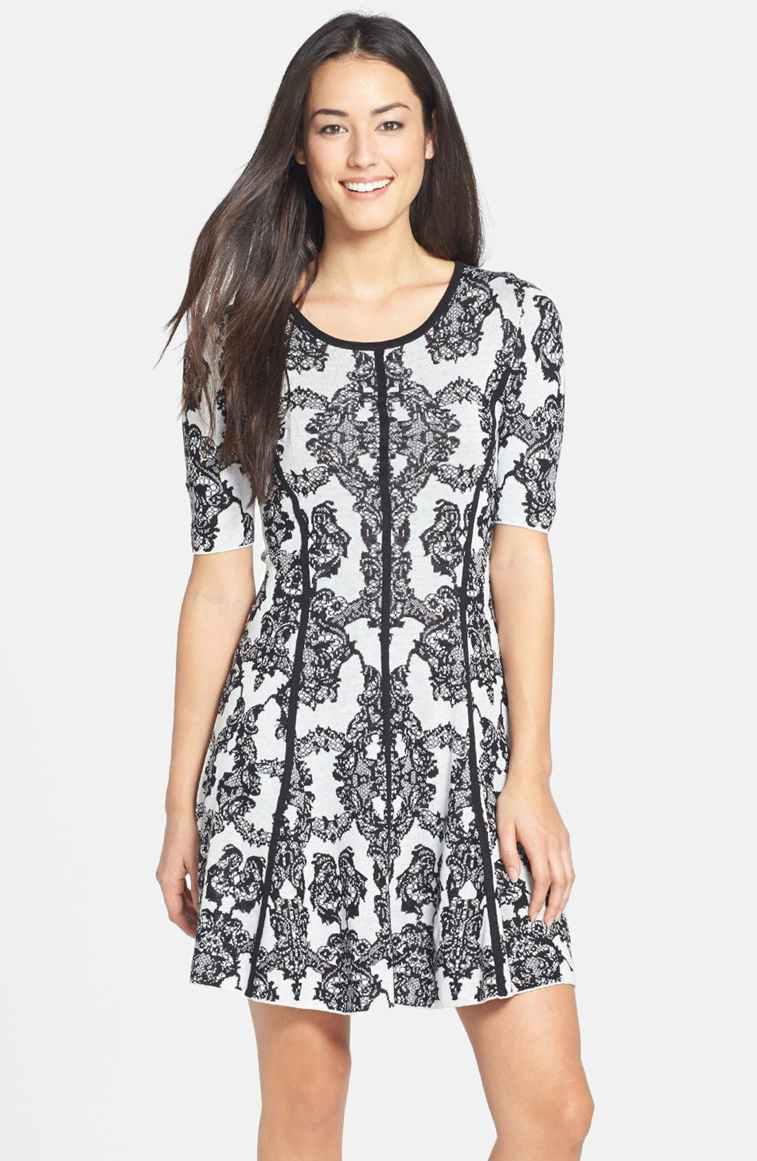 Main Image - BCBGMAXAZRIA Floral Fit & Flare Dress