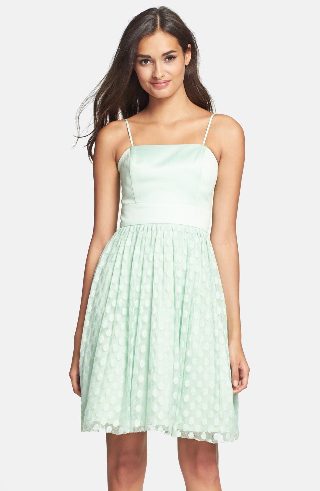 Main Image - Eliza J Polka Dot Mesh Fit & Flare Dress