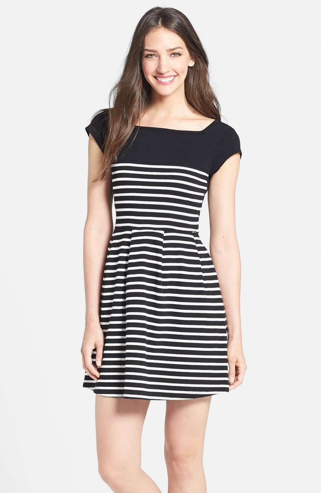 Main Image - French Connection Cap Sleeve Stripe Dress