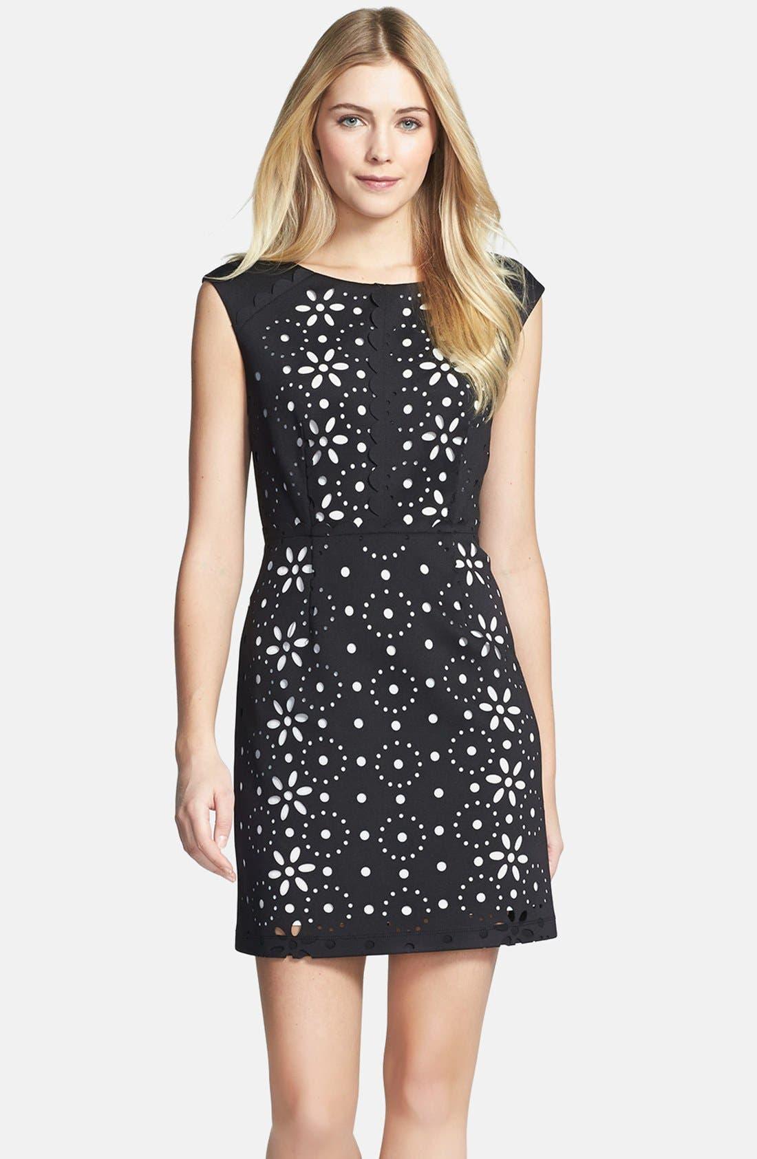 Main Image - Betsey Johnson Cap Sleeve Laser Cut Scuba Dress