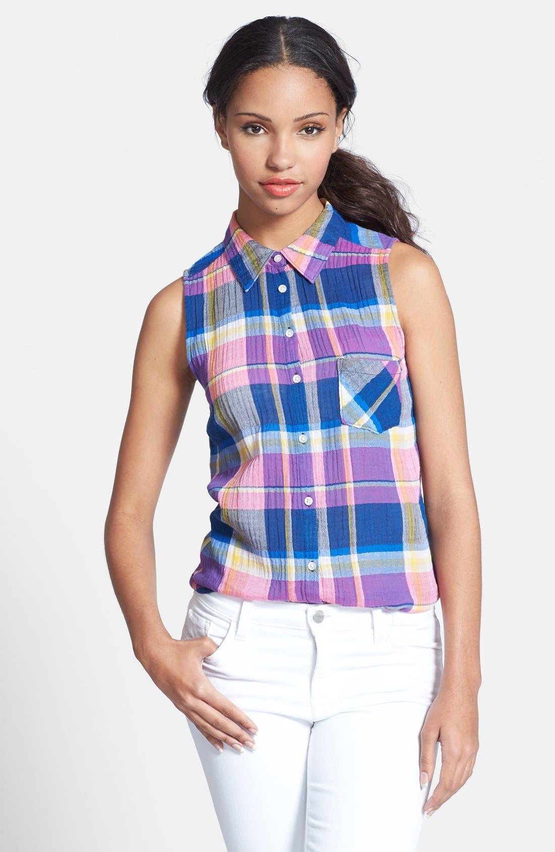 Main Image - C & C California Sleeveless Plaid Stretch Cotton Shirt