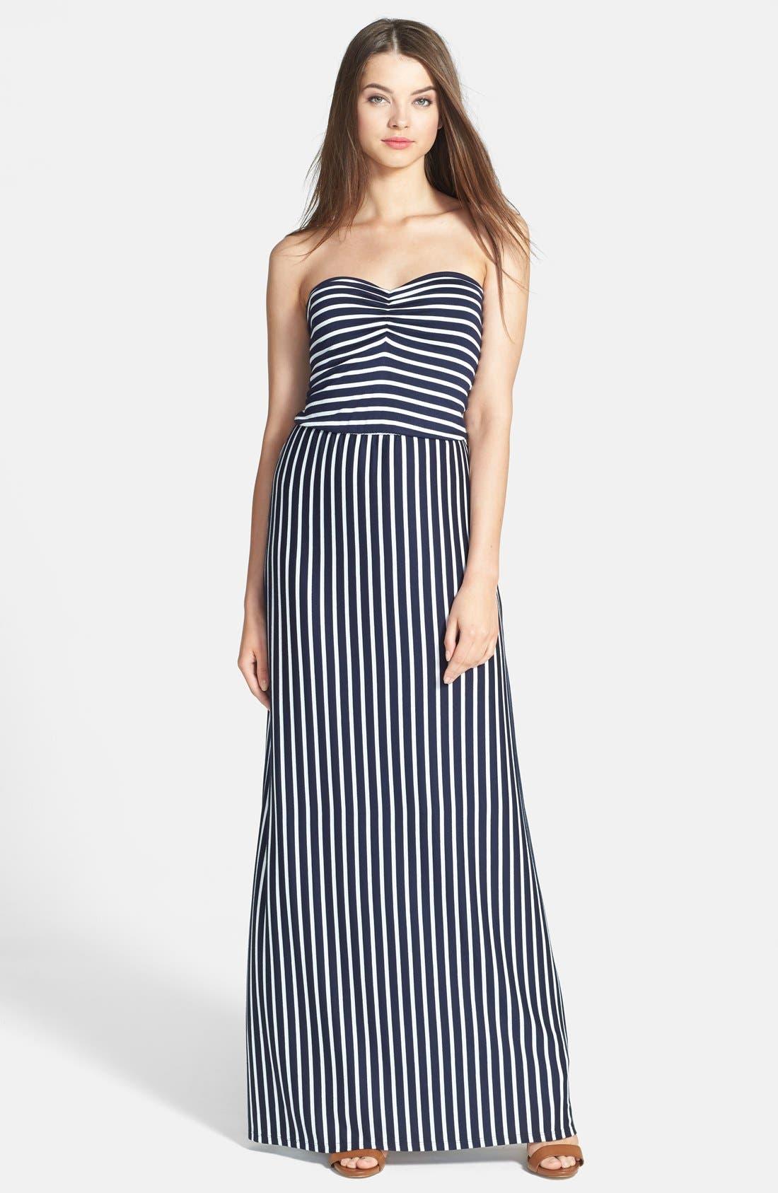 Main Image - Loveappella Strapless Twist Back Stripe Maxi Dress (Regular & Petite)