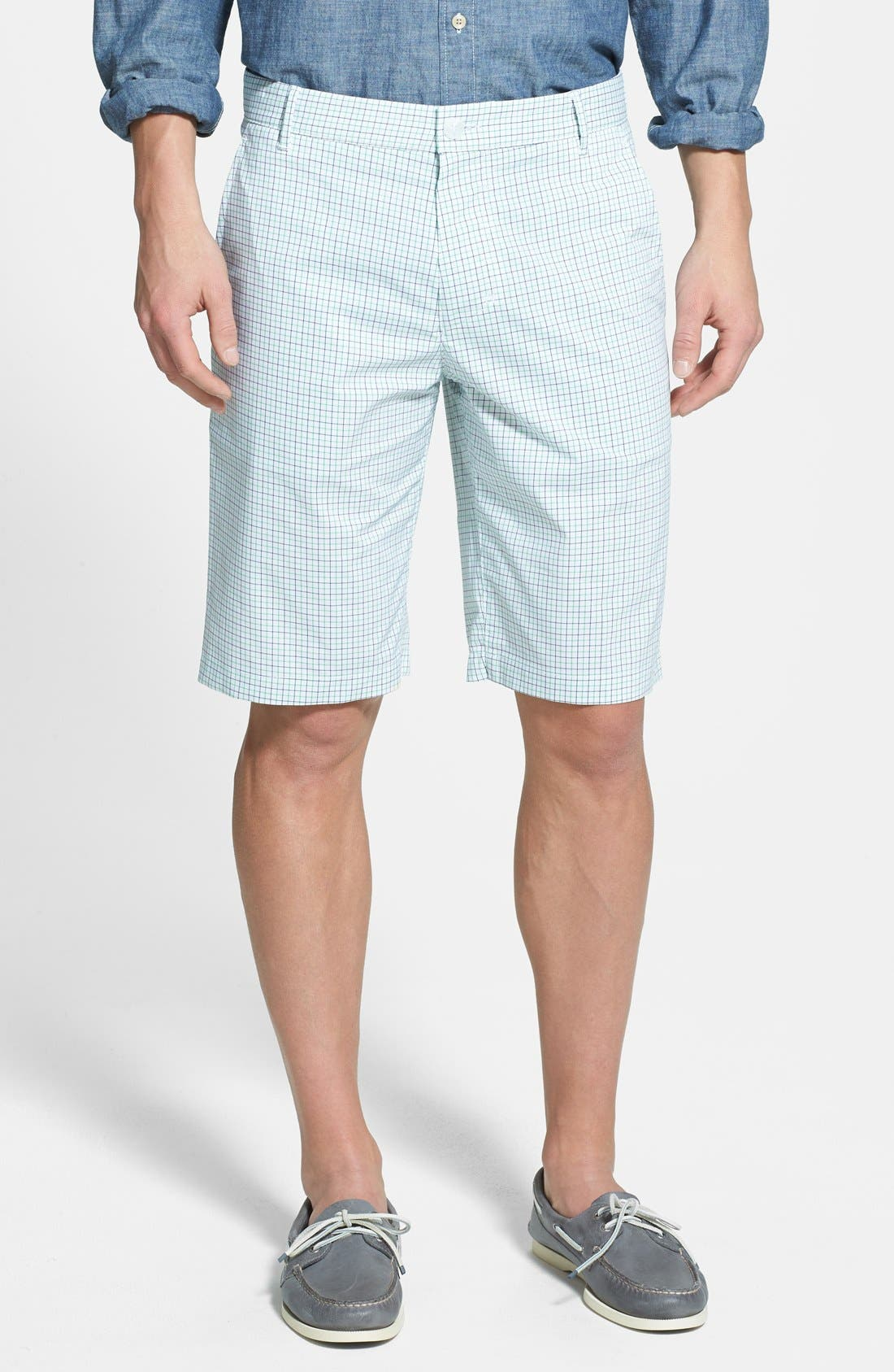 Alternate Image 1 Selected - BOSS Green 'Hakob' Mini Check Tech Shorts