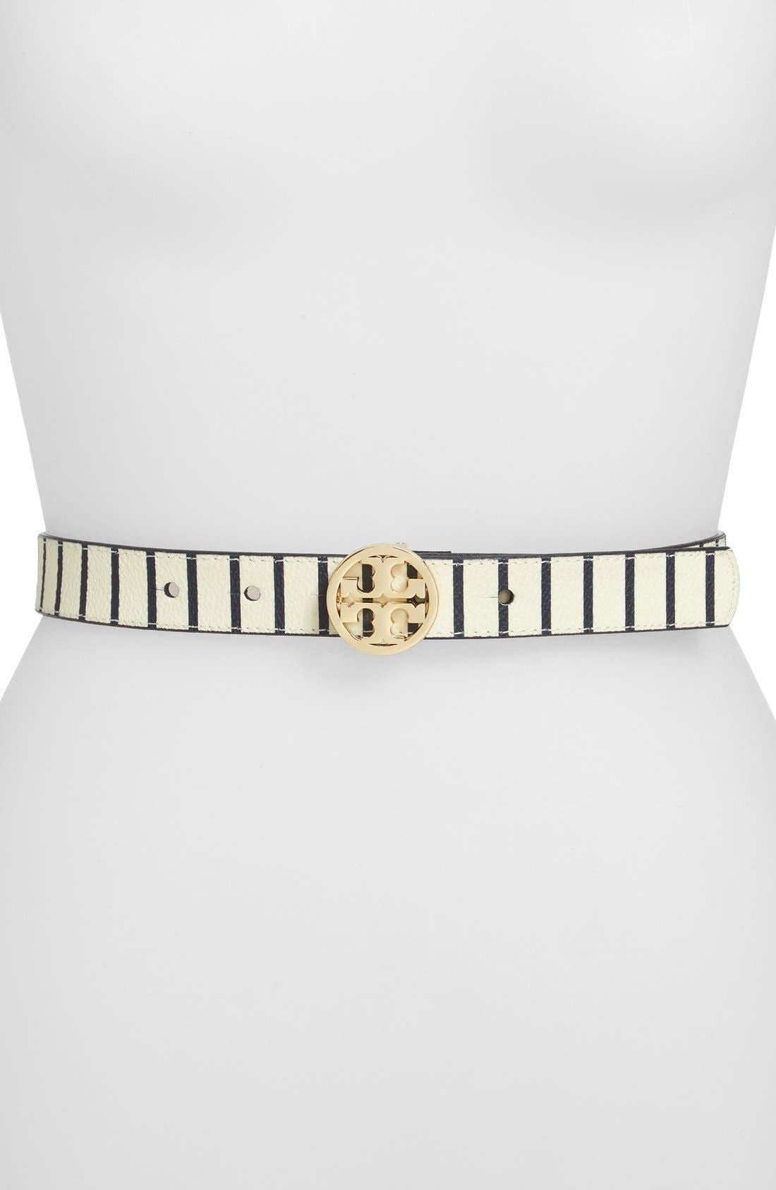 Alternate Image 1 Selected - Tory Burch 'Fleet Stripe' Leather Belt