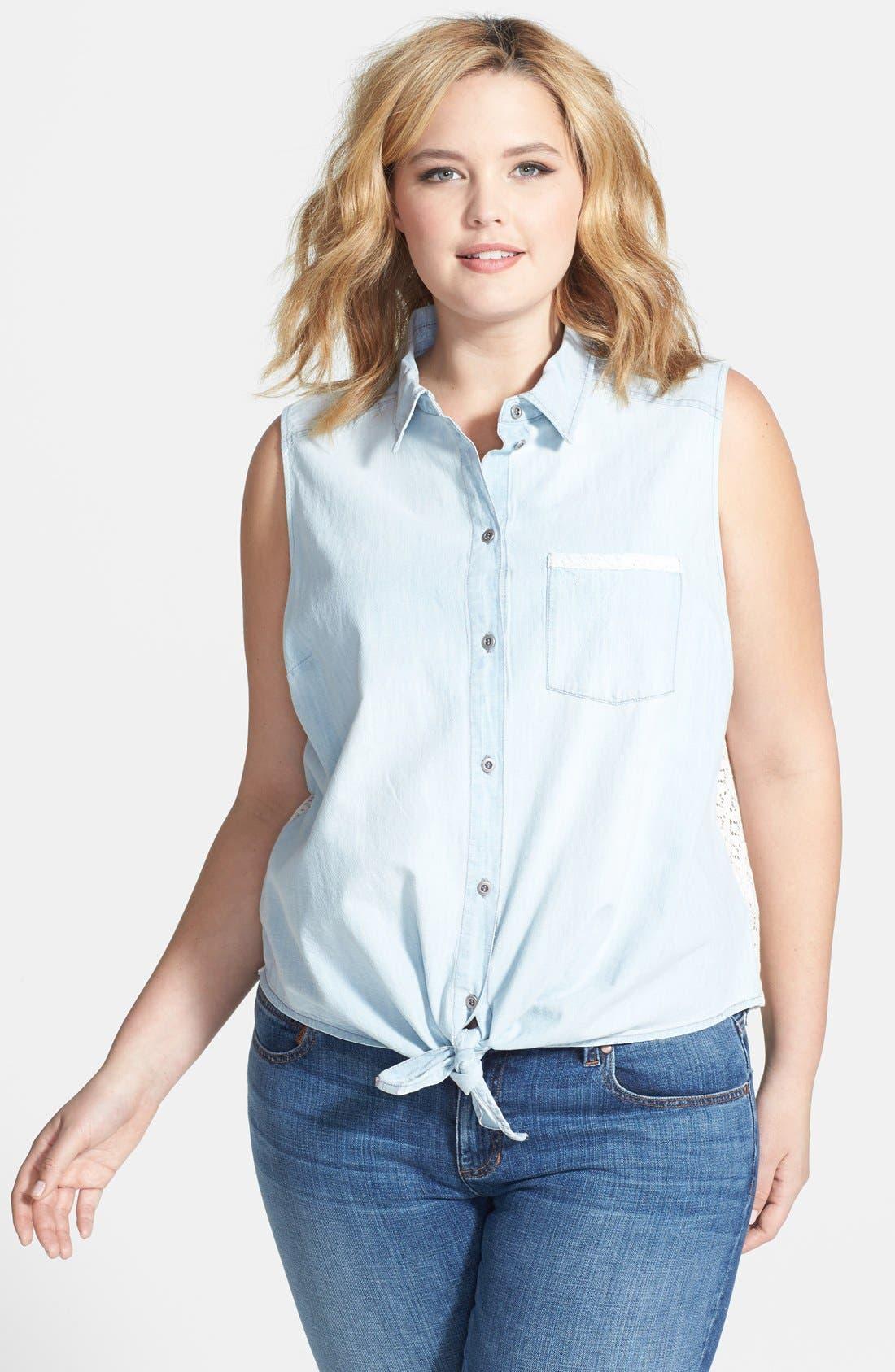 Main Image - Jessica Simpson 'Soul' Sleeveless Tie Front Mixed Media Shirt (Plus Size)