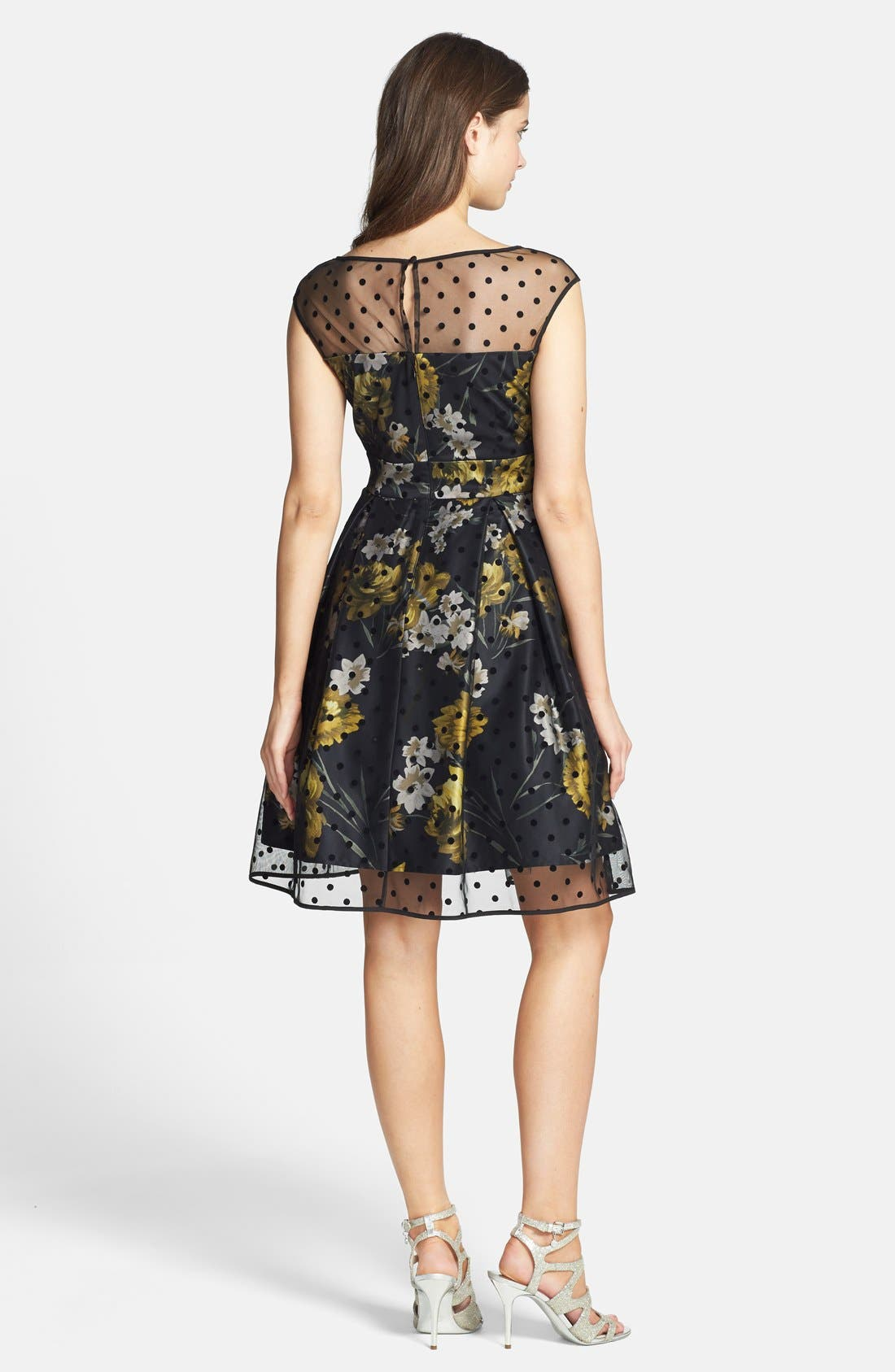 Alternate Image 2  - Eliza J Illusion Dot Print Charmeuse Fit & Flare Dress