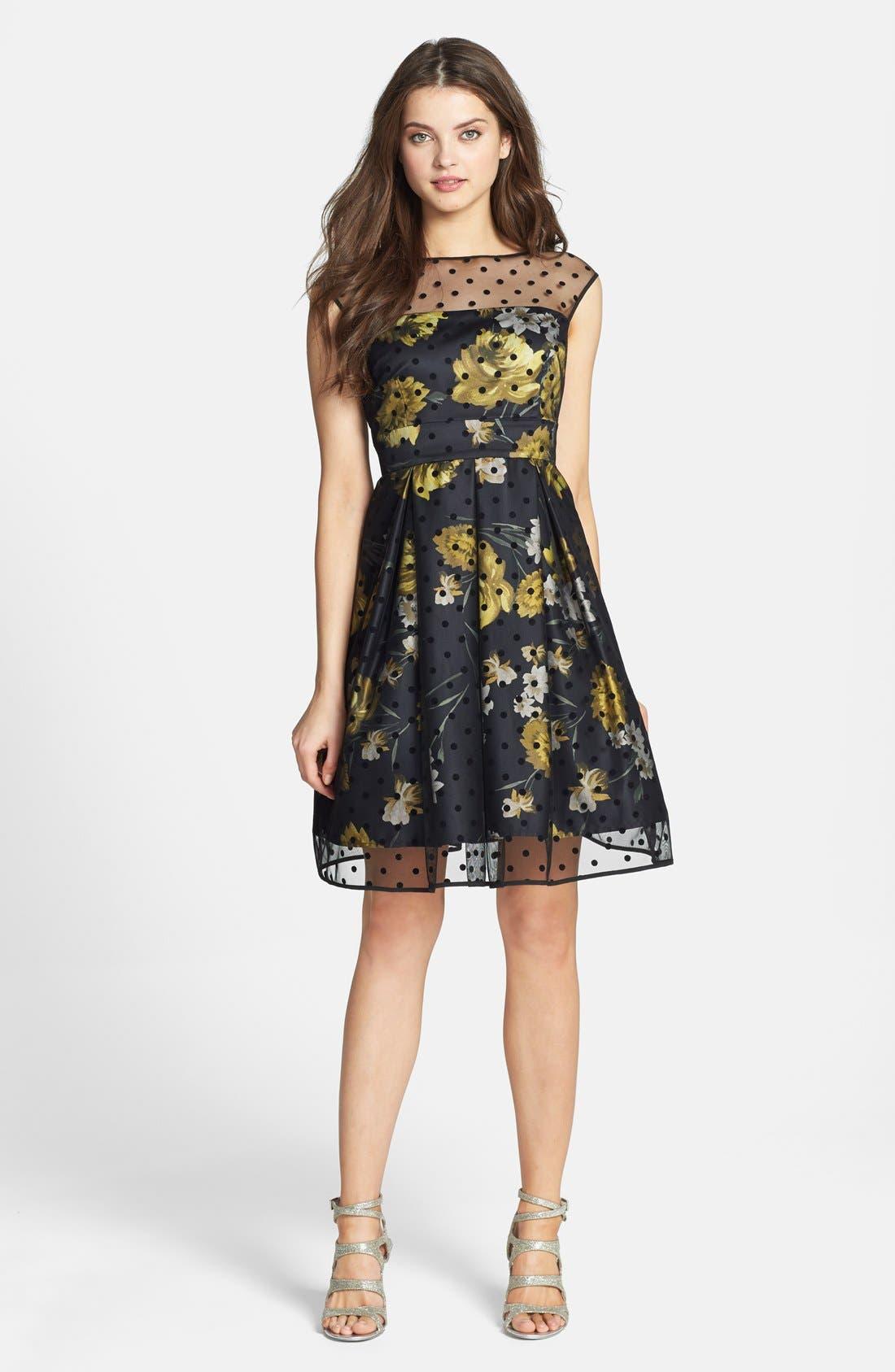Alternate Image 1 Selected - Eliza J Illusion Dot Print Charmeuse Fit & Flare Dress