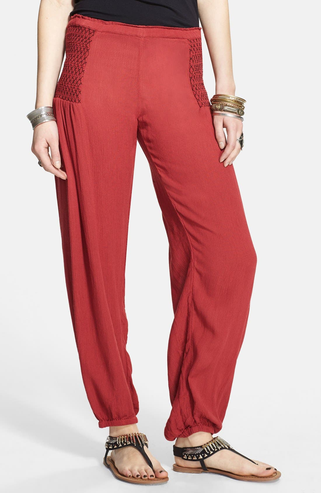 Alternate Image 1 Selected - Free People 'Leighanna' Smocked Side Woven Pants