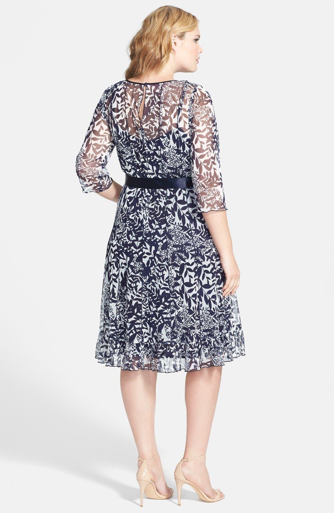 Alternate Image 2  - Jessica Howard Satin Sash Pintuck Print Dress (Plus Size)