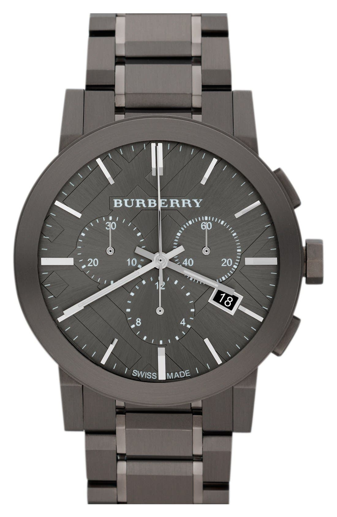 Main Image - Burberry Large Chronograph Bracelet Watch, 42mm