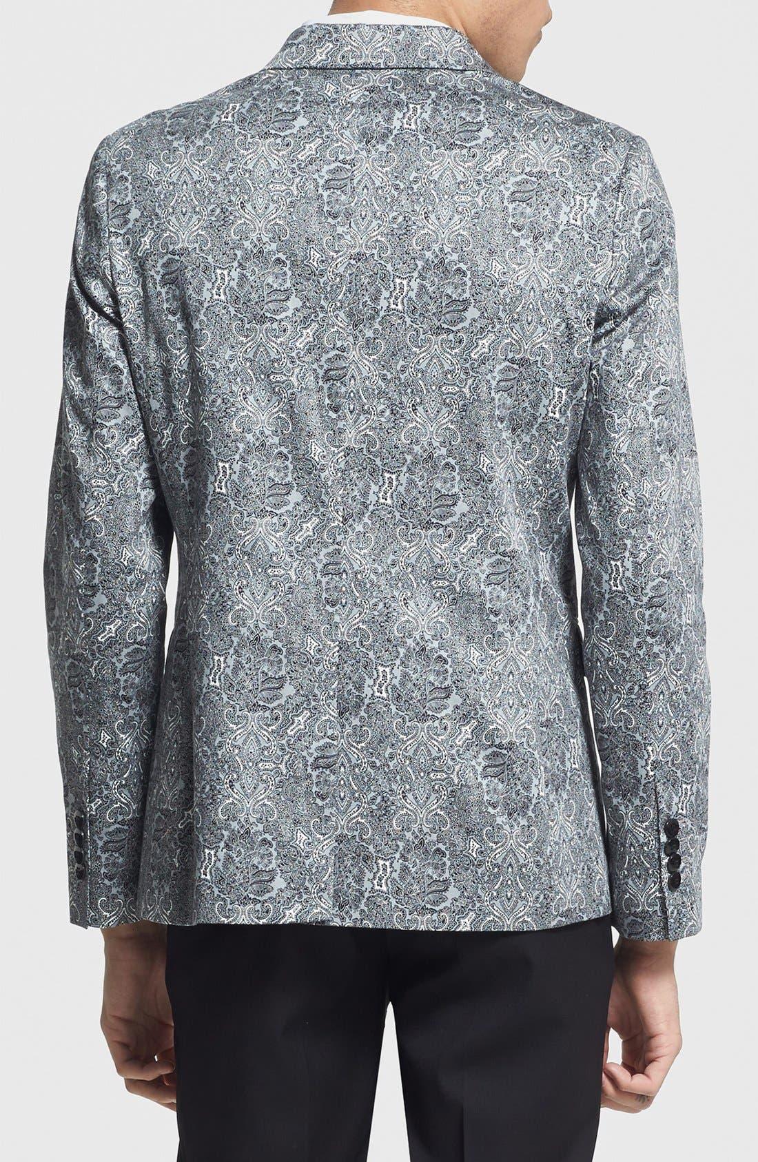 Alternate Image 2  - Topman Skinny Fit Paisley Print Suit Jacket