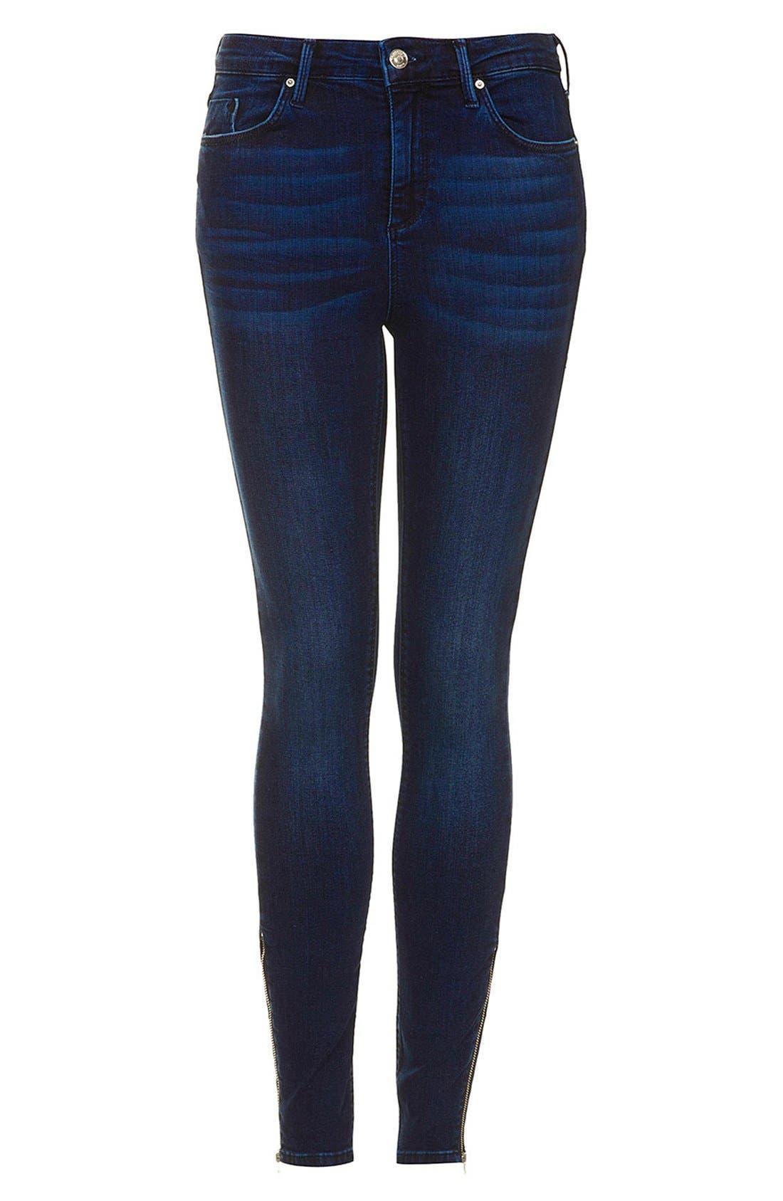 Alternate Image 3  - Topshop Moto 'Jamie' Zip Cuff High Waist Skinny Jeans (Dark)
