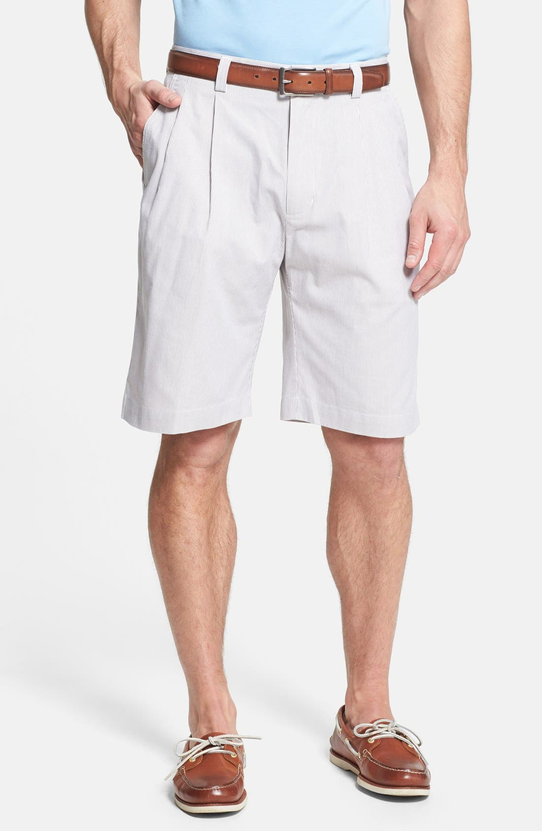 Main Image - Cutter & Buck 'Avalon Way' Pleated Stripe Shorts