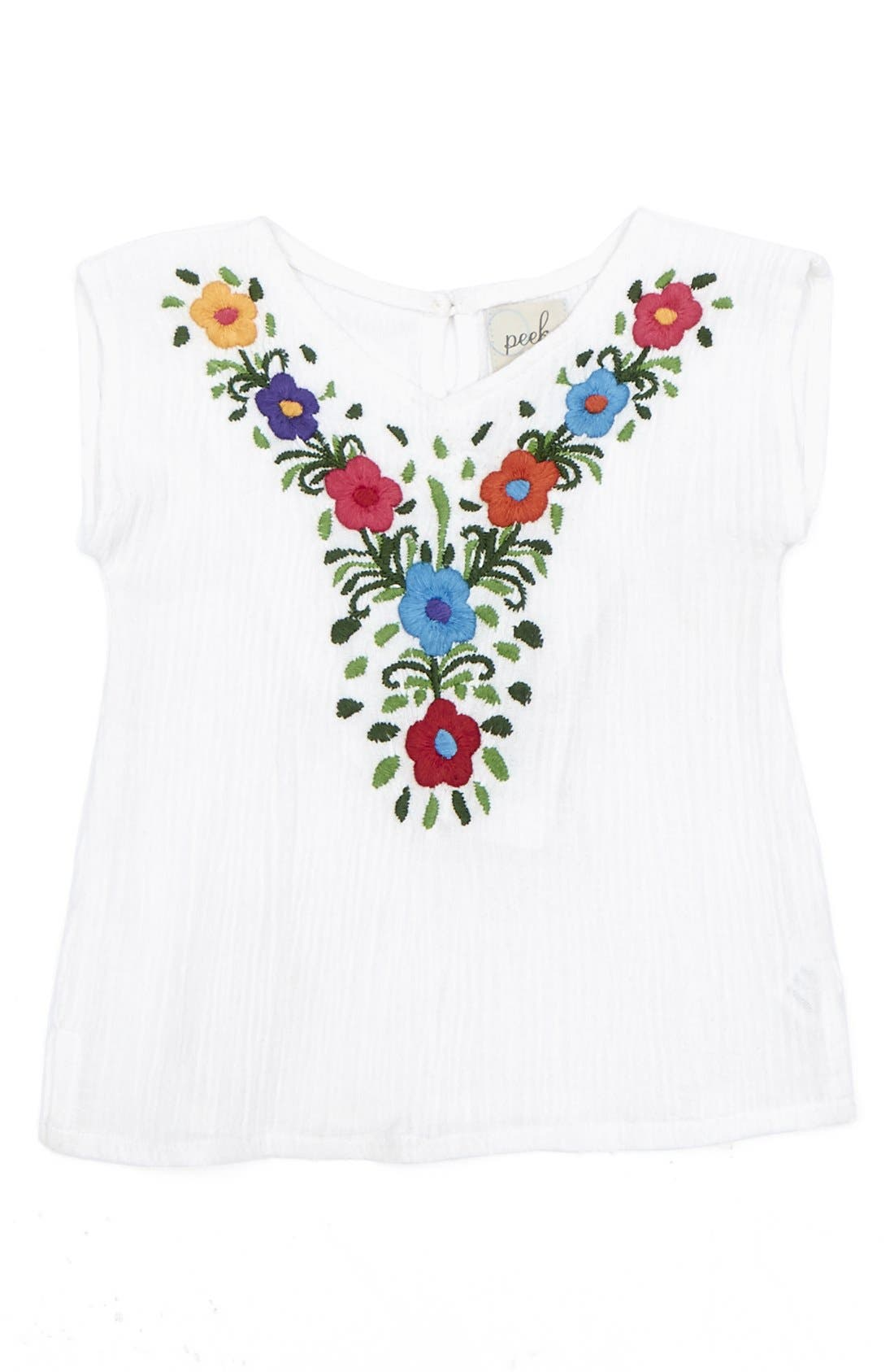 Alternate Image 1 Selected - Peek 'Capella' Embroidered Cotton Top (Baby Girls)