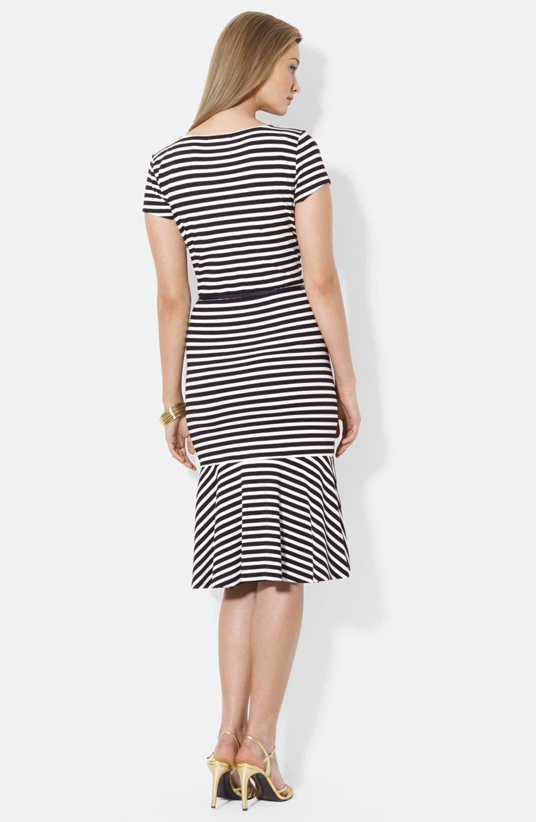 Alternate Image 2  - Lauren Ralph Lauren Belted Stripe Stretch Jersey Dress