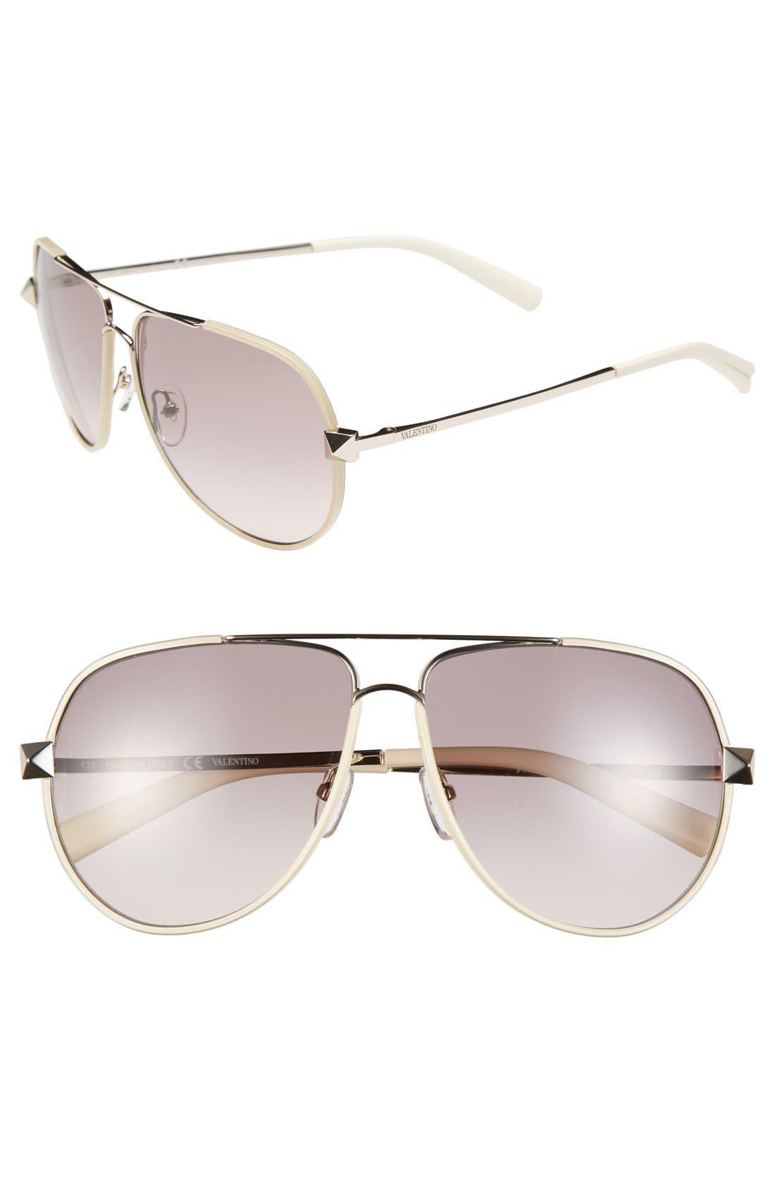 Main Image - Valentino 'Rockstud' 60mm Aviator Sunglasses