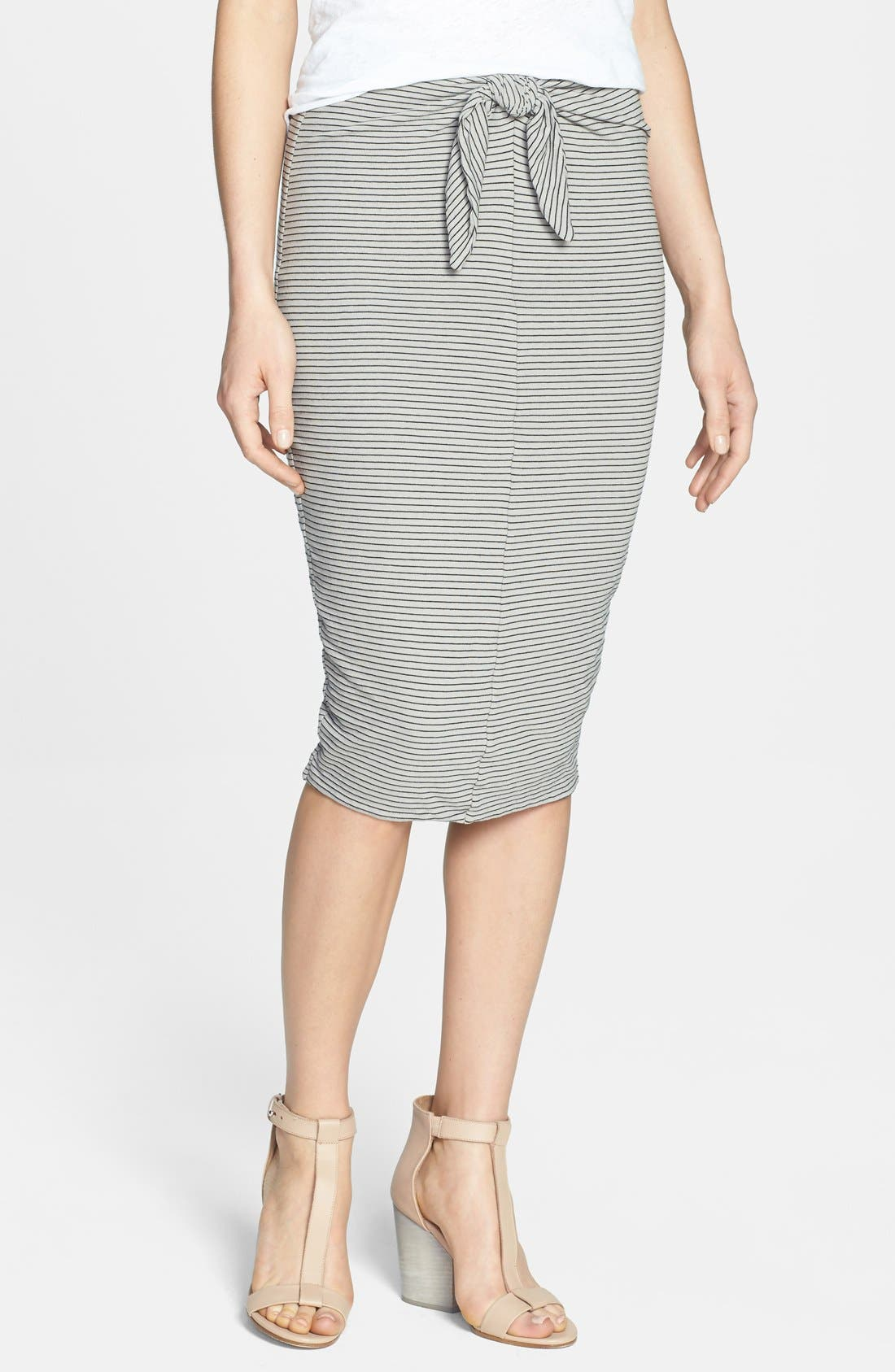 Alternate Image 1 Selected - James Perse Stripe Tie Front Tube Skirt