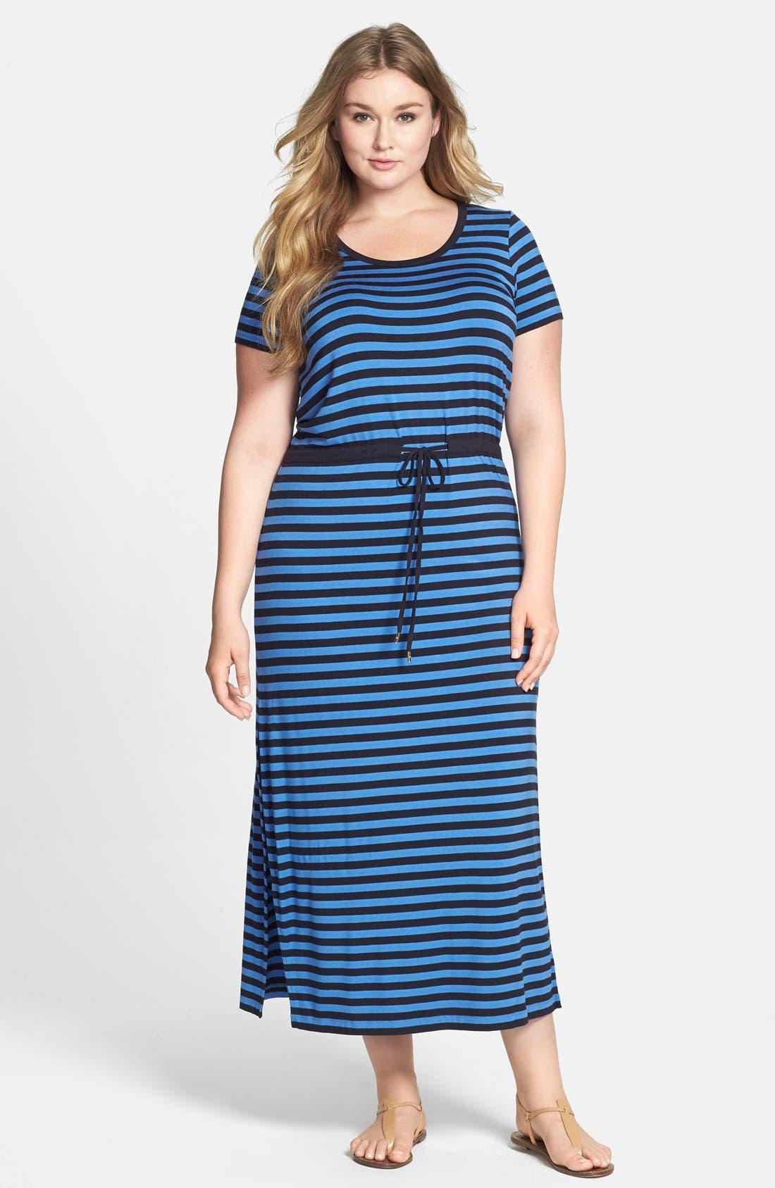 Alternate Image 1 Selected - MICHAEL Michael Kors Stripe Drawstring Waist Stretch Knit Maxi Dress (Plus Size)