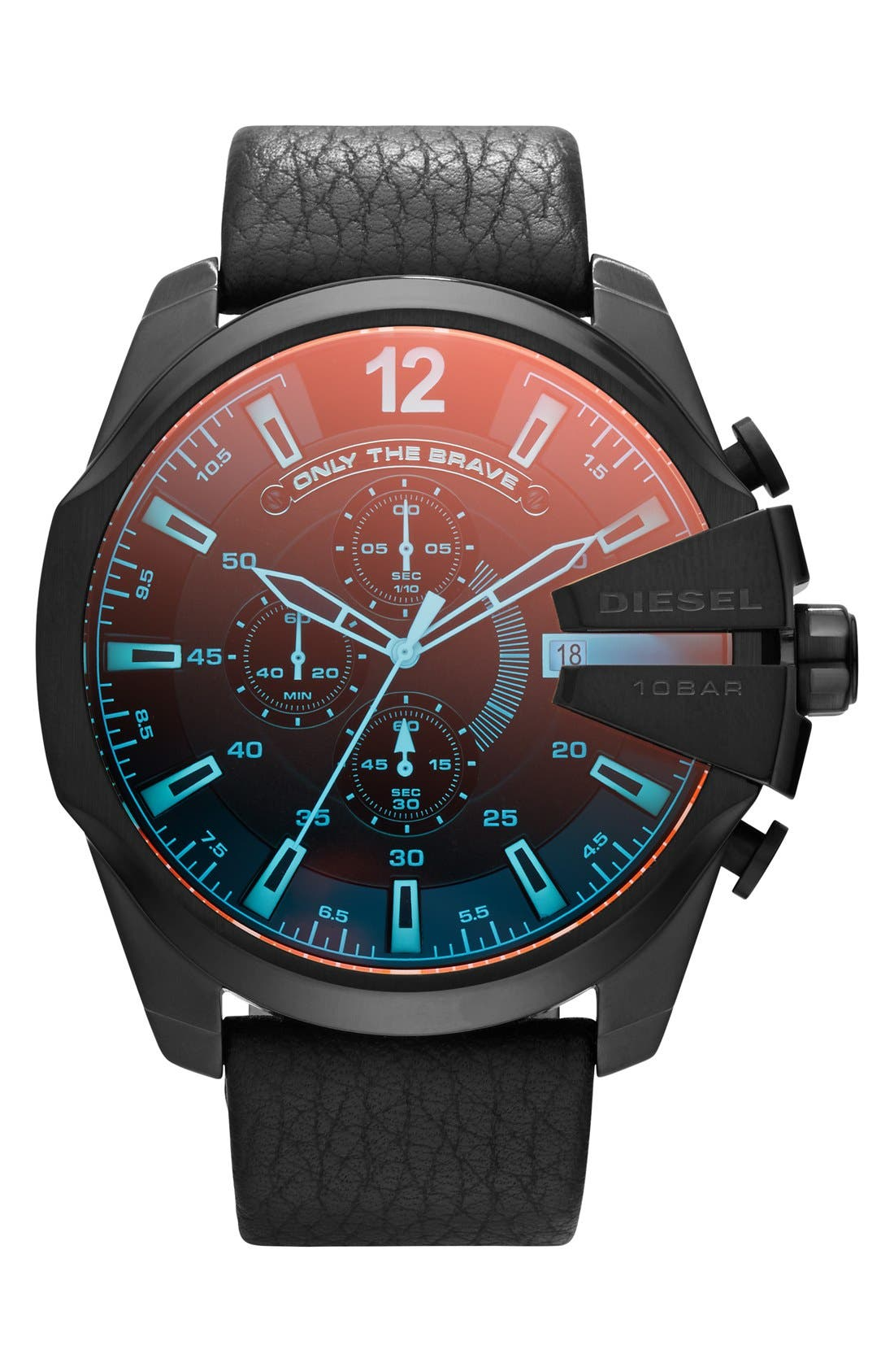 Alternate Image 1 Selected - DIESEL® 'Mega Chief' Chronograph Leather Strap Watch, 51mm