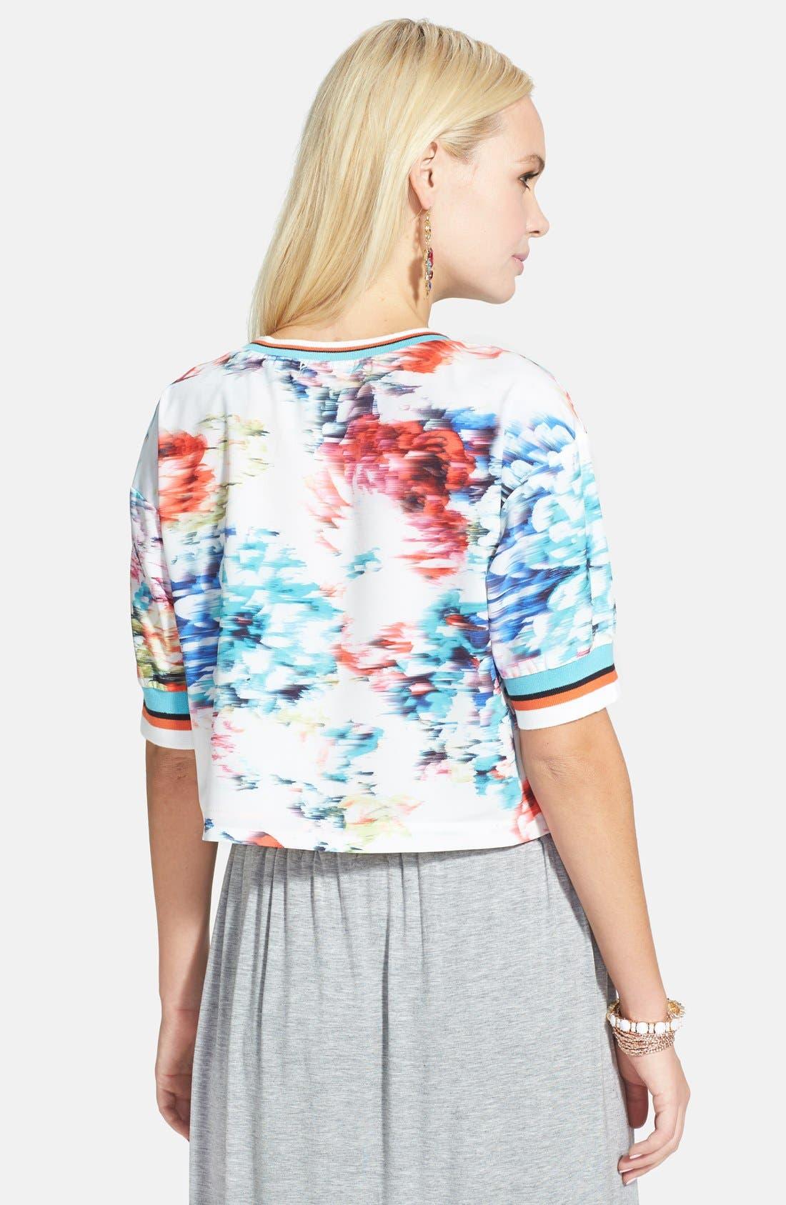 Alternate Image 3  - re:named Floral Print Stripe Trim Tee