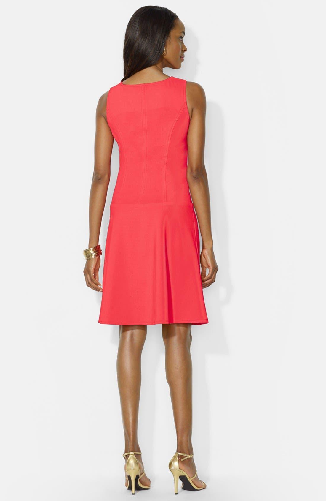 Alternate Image 2  - Lauren Ralph Lauren Front Zip Shift Dress (Petite)