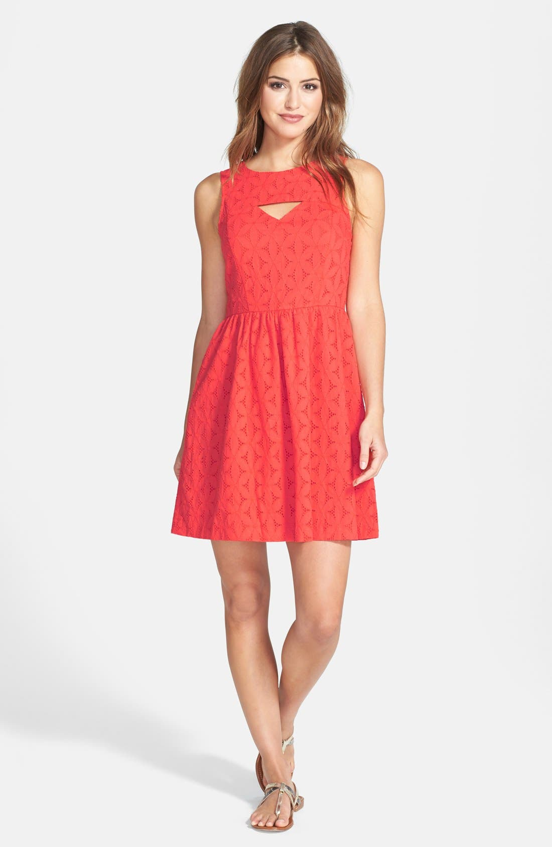 Alternate Image 1 Selected - kensie Embroidered Eyelet Cotton Fit & Flare Dress