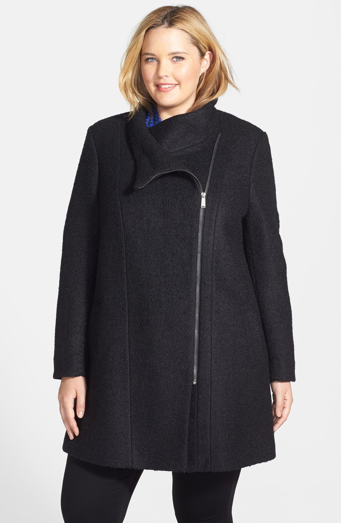 Alternate Image 1 Selected - DKNY Asymmetric Zip Textured Funnel Collar Coat (Plus Size)